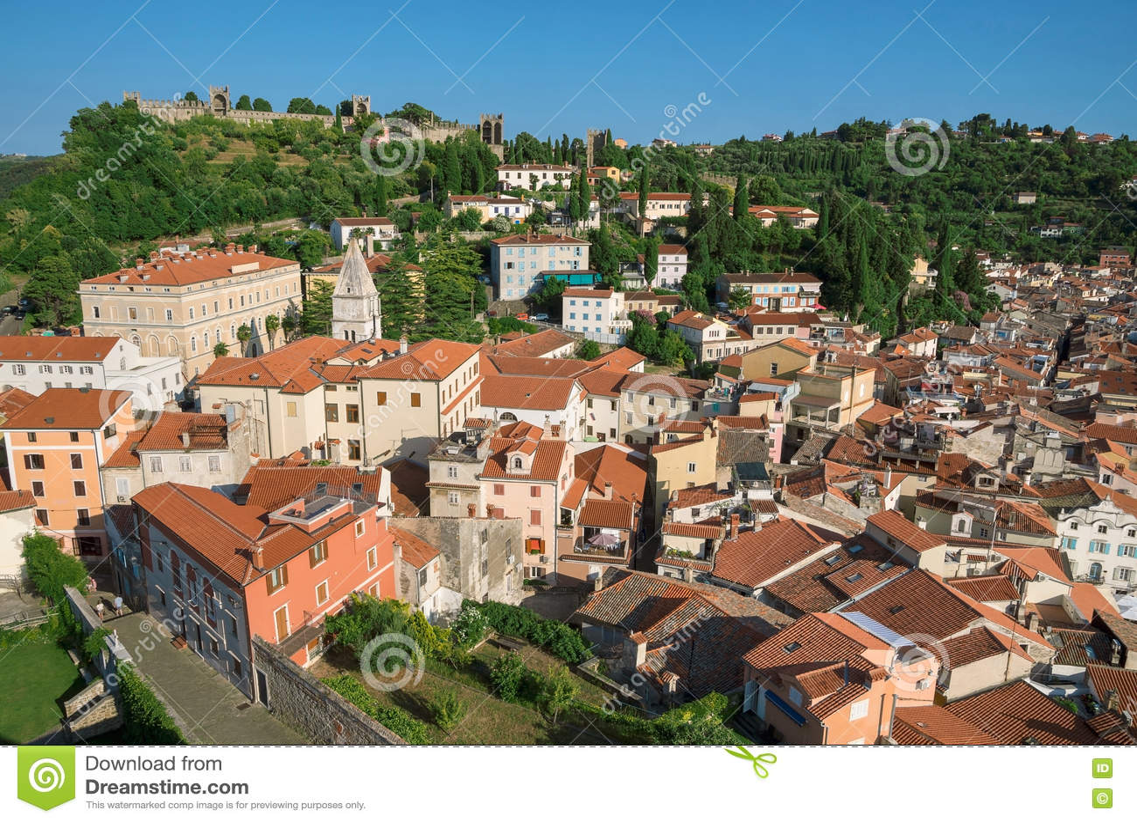 Επάνω από την άποψη Piran με το κάστρο, Σλοβενία