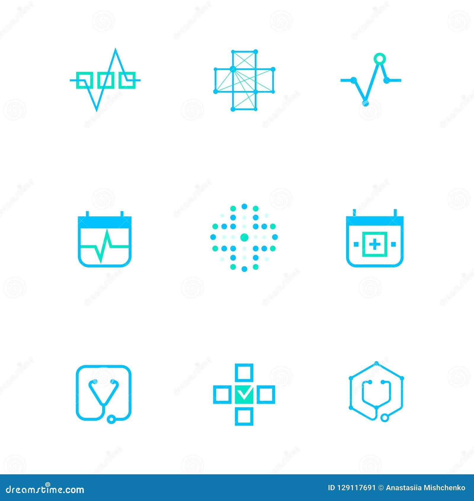 Επίπεδα γραμμών ιατρικής λογότυπα εμβλημάτων εικονιδίων μονοχρωματικά μπλε, σε απευθείας σύνδεση έννοια Ιστού Λογότυπο του σφυγμο