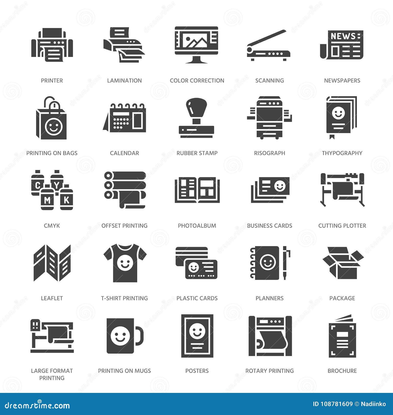 Επίπεδα εικονίδια glyph σπιτιών εκτύπωσης Εξοπλισμός καταστημάτων τυπωμένων υλών - εκτυπωτής, ανιχνευτής, αντισταθμισμένη μηχανή,
