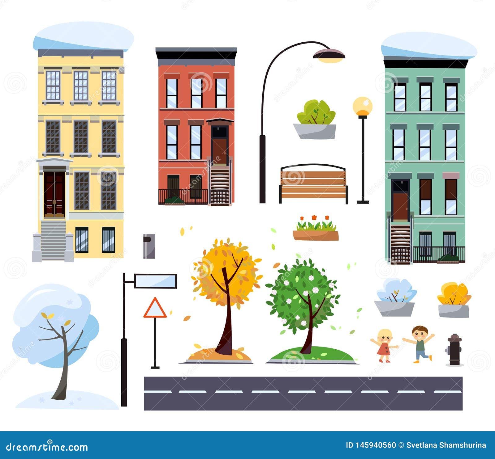 Επίπεδα κινούμενων σχεδίων σπίτια πόλεων δύο-ιστορίας ύφους διανυσματικά, οδός με το δρόμο, δέντρα, πάγκος, οδικά σημάδια, φανάρι