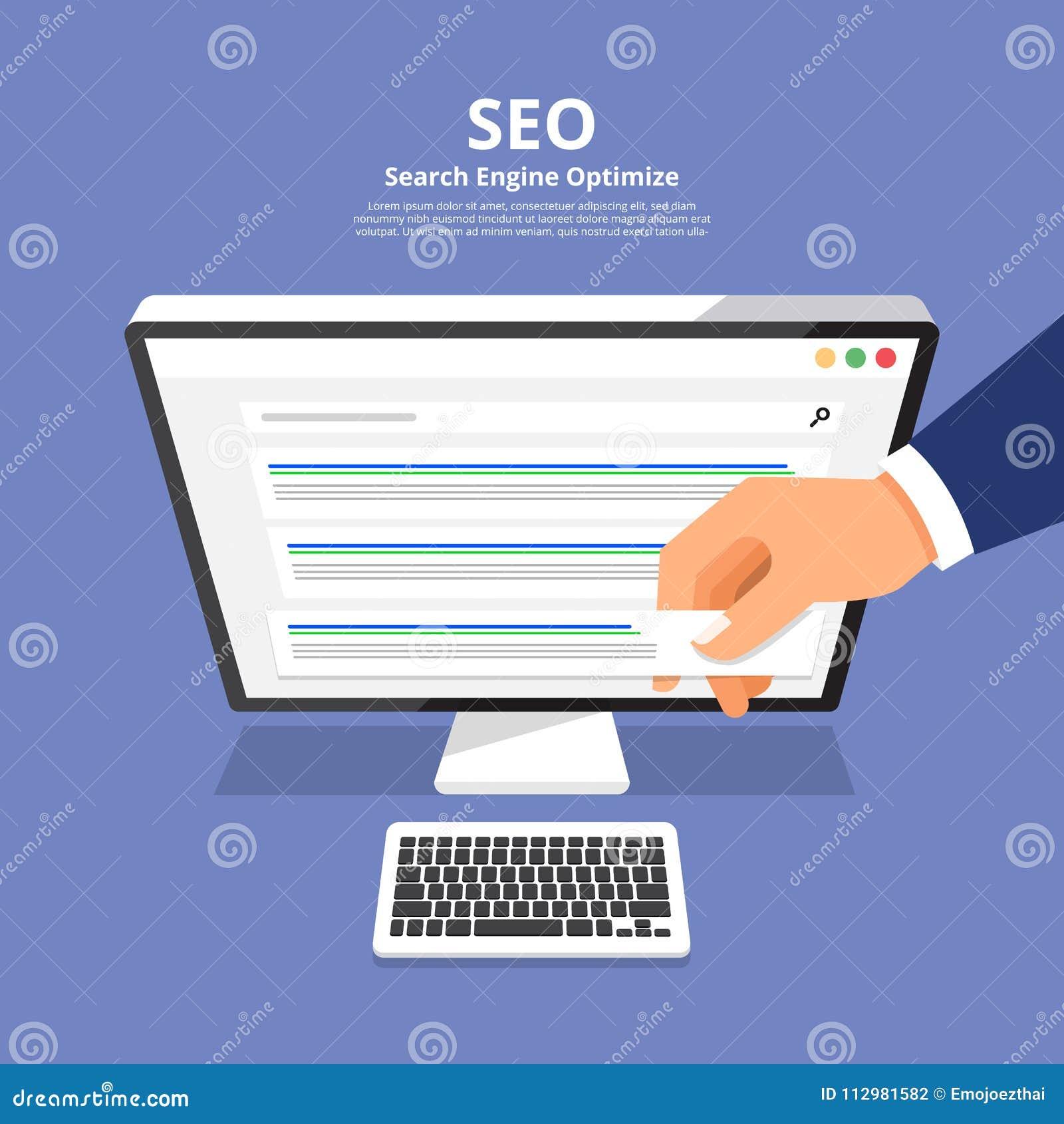Επίπεδη έννοια σχεδίου SEO (η μηχανή αναζήτησης βελτιστοποιεί) Διάνυσμα illustr