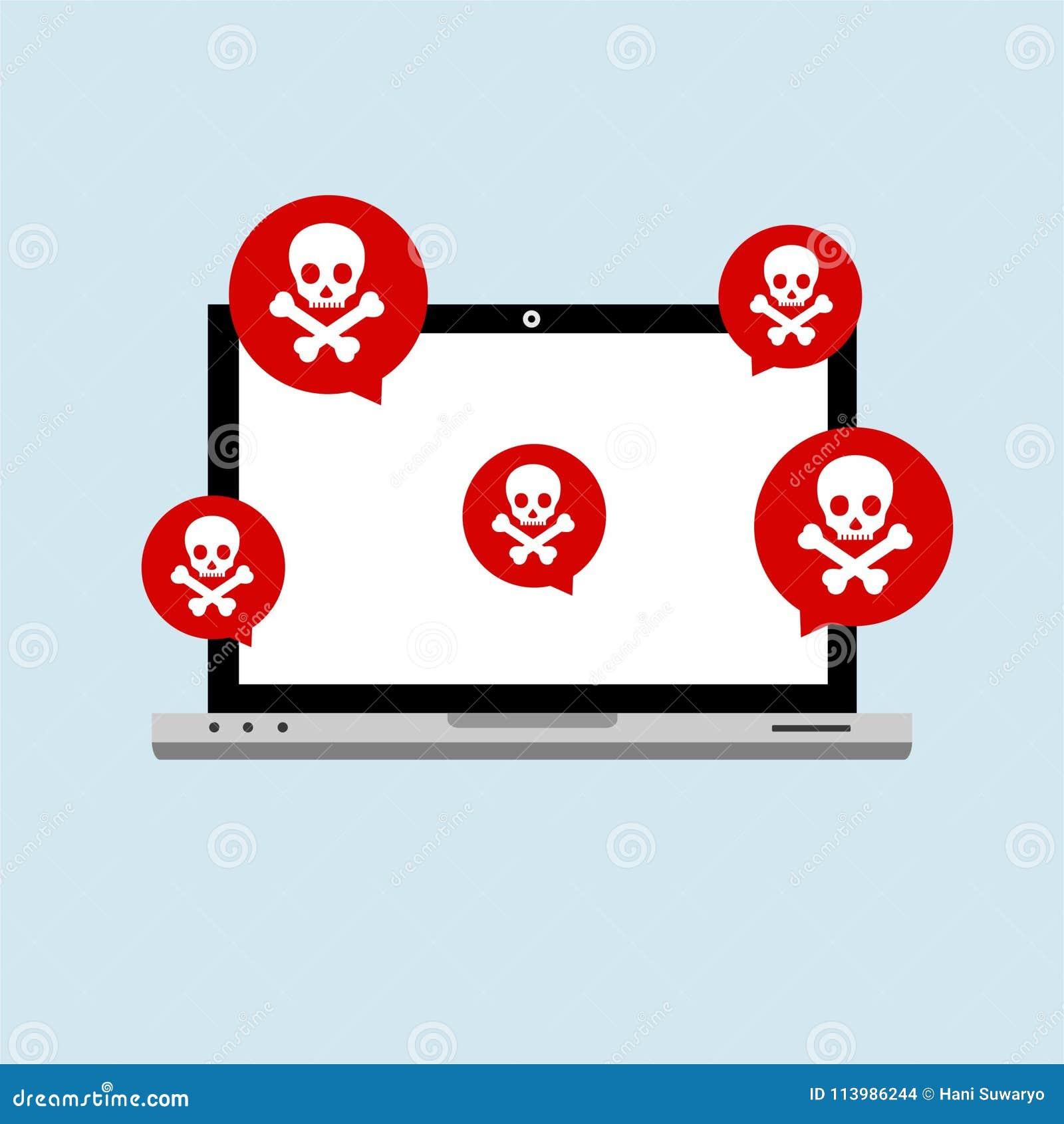 Επίπεδη έννοια τεχνολογικής ασφαλείας υπολογιστών Διαδικτύου χάκερ Υπολογιστής δραστηριότητας χάκερ Άγρυπνη ανακοίνωση στο φορητό