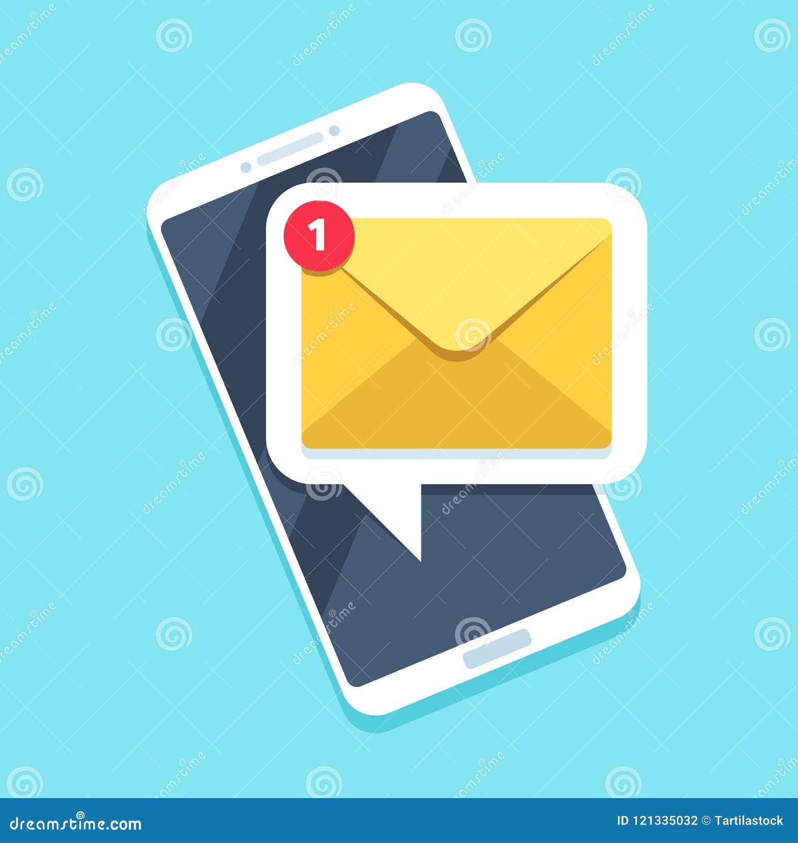 Επίπεδη ανακοίνωση ηλεκτρονικού ταχυδρομείου στο smartphone Εικονίδιο Sms ή υπενθύμιση μηνυμάτων ταχυδρομείου στην κινητή τηλεφων
