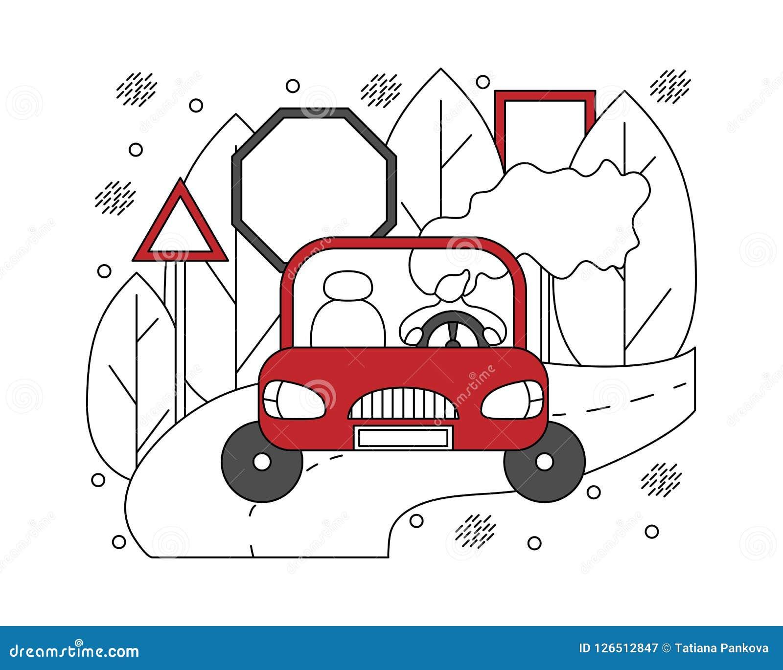 Επίπεδη απεικόνιση στις γραμμές με το κορίτσι σε ένα αυτοκίνητο Αυτοκίνητο concep