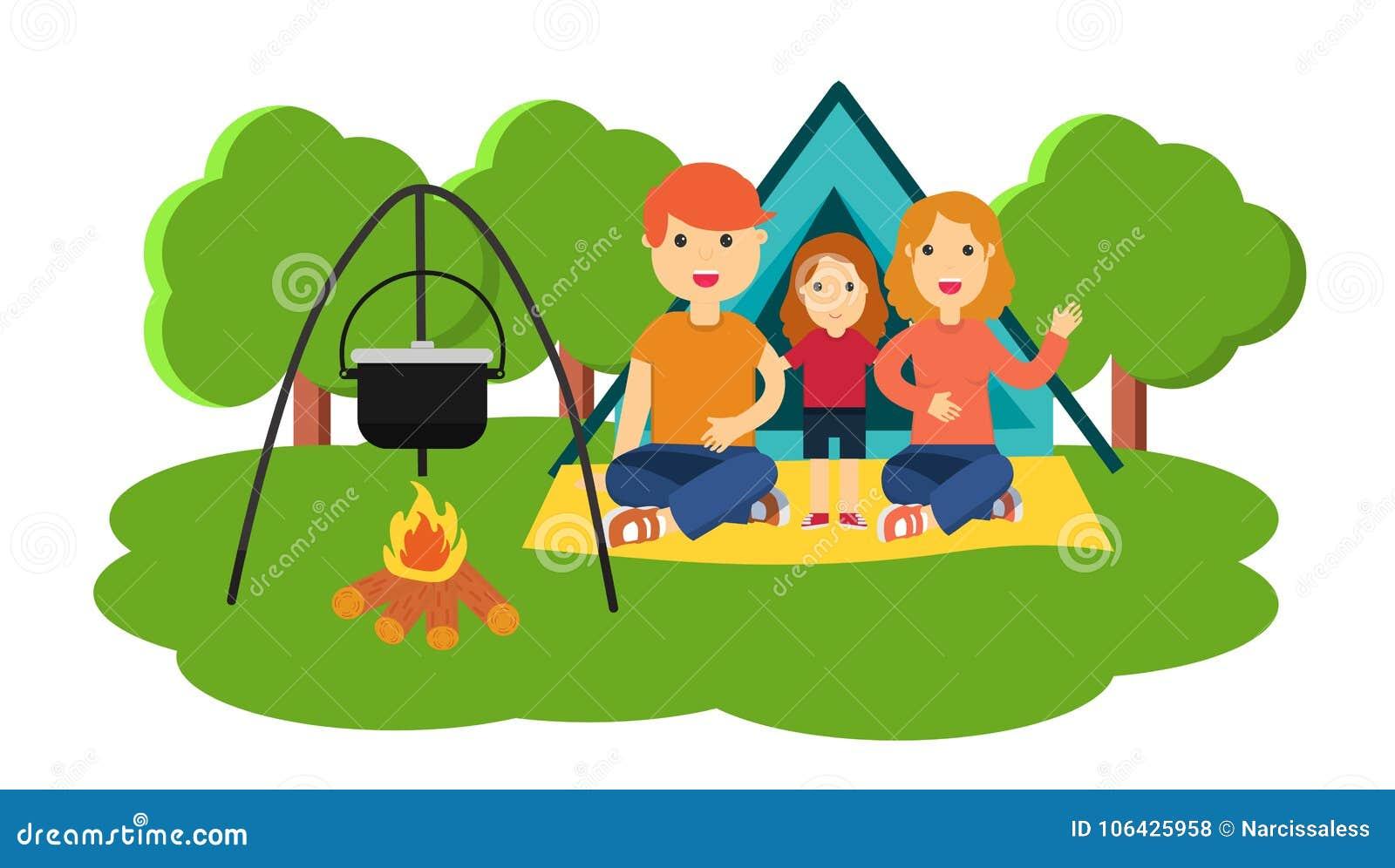 Επίπεδη ζωηρόχρωμη διανυσματική απεικόνιση της οικογένειας