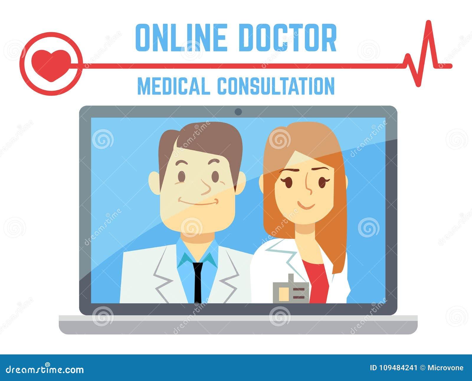 Επίπεδος αρσενικός και θηλυκός σε απευθείας σύνδεση γιατρός, υγειονομική υπηρεσία υπολογιστών Διαδικτύου
