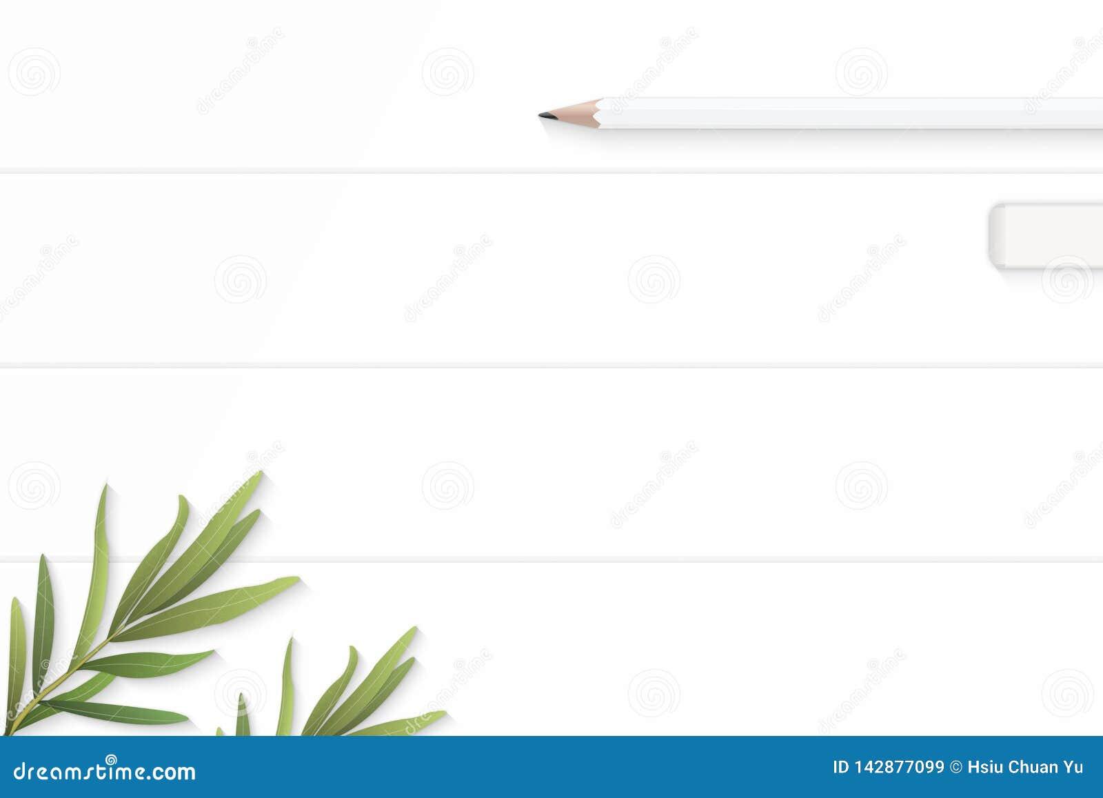 Επίπεδος βάλτε την κομψά άσπρα γόμα μολυβιών σύνθεσης τοπ άποψης και το φύλλο τραχουριού στο ξύλινο υπόβαθρο πατωμάτων