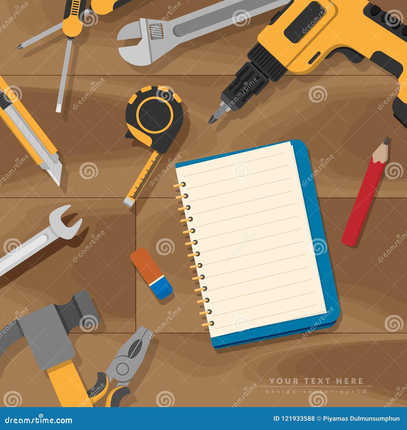 Επίπεδος βάλτε της κενής κενής σελίδας βιβλίων για το διάστημα αντιγράφων με το σύνολο εγχώριων εργαλείων στο αγροτικό ξύλινο υπό