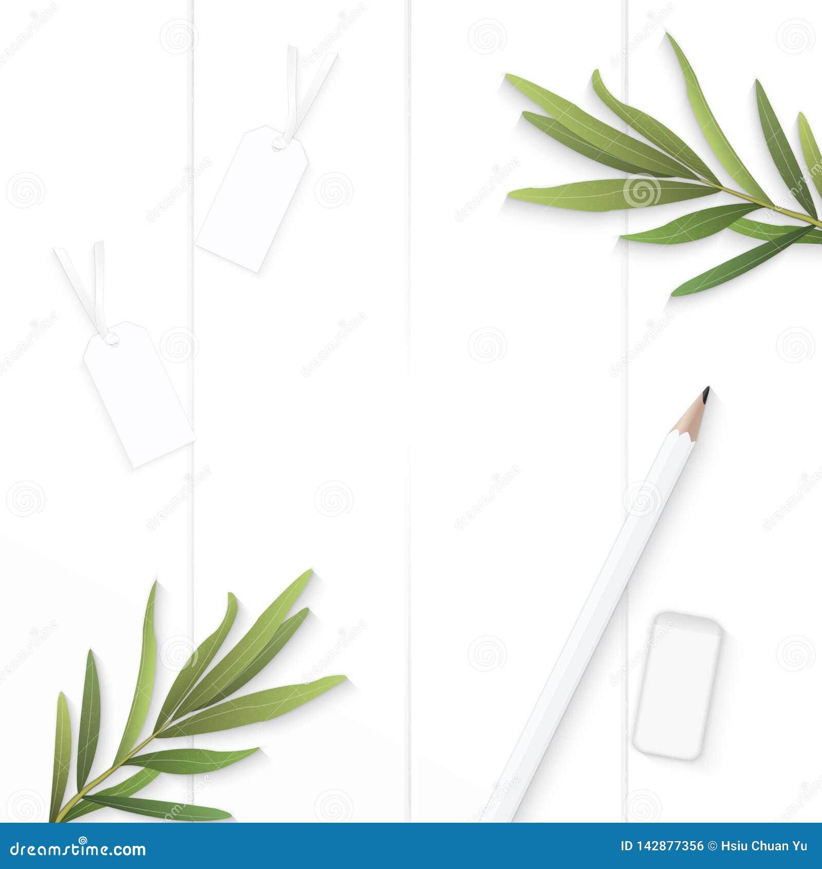 Επίπεδος βάλτε το κομψές φύλλο τραχουριού ετικεττών κώνων πεύκων εγγράφου σύνθεσης τοπ άποψης και τη γόμα μολυβιών στο ξύλινο υπό