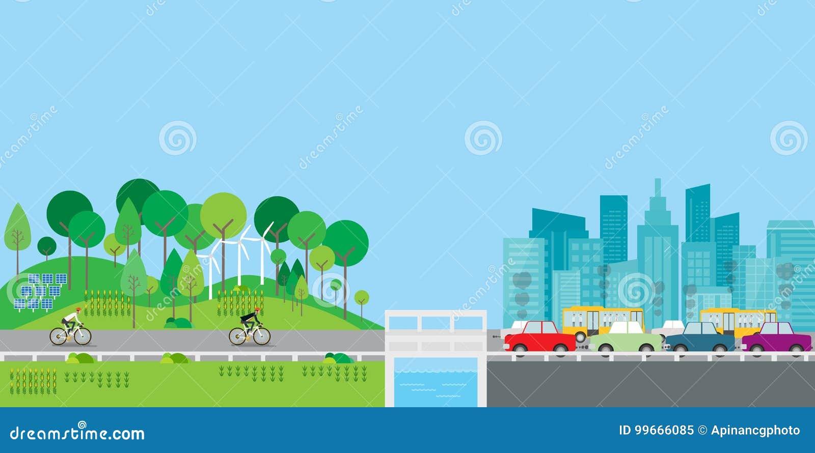 Επίπεδος διανυσματικός τρόπος ζωής σχεδίου στην επαρχία με τη μεγάλη έννοια πόλεων