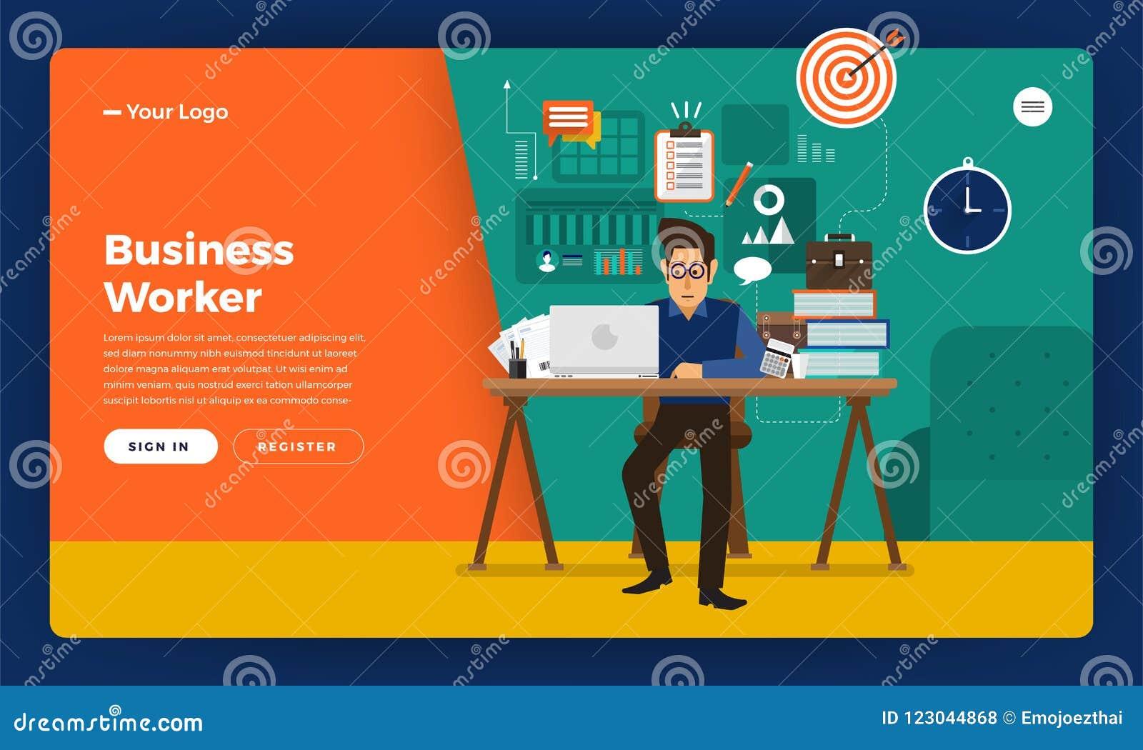 Επίπεδος εργαζόμενος ωρών απασχόλησης έννοιας σχεδίου ιστοχώρου σχεδίου προτύπων