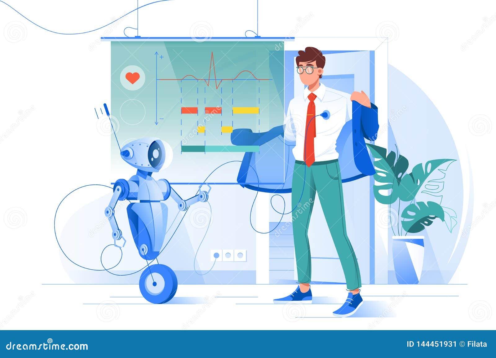 Επίπεδος νεαρός άνδρας στα διαγνωστικά ρομπότ με το διάγραμμα ποσοστού καρδιών