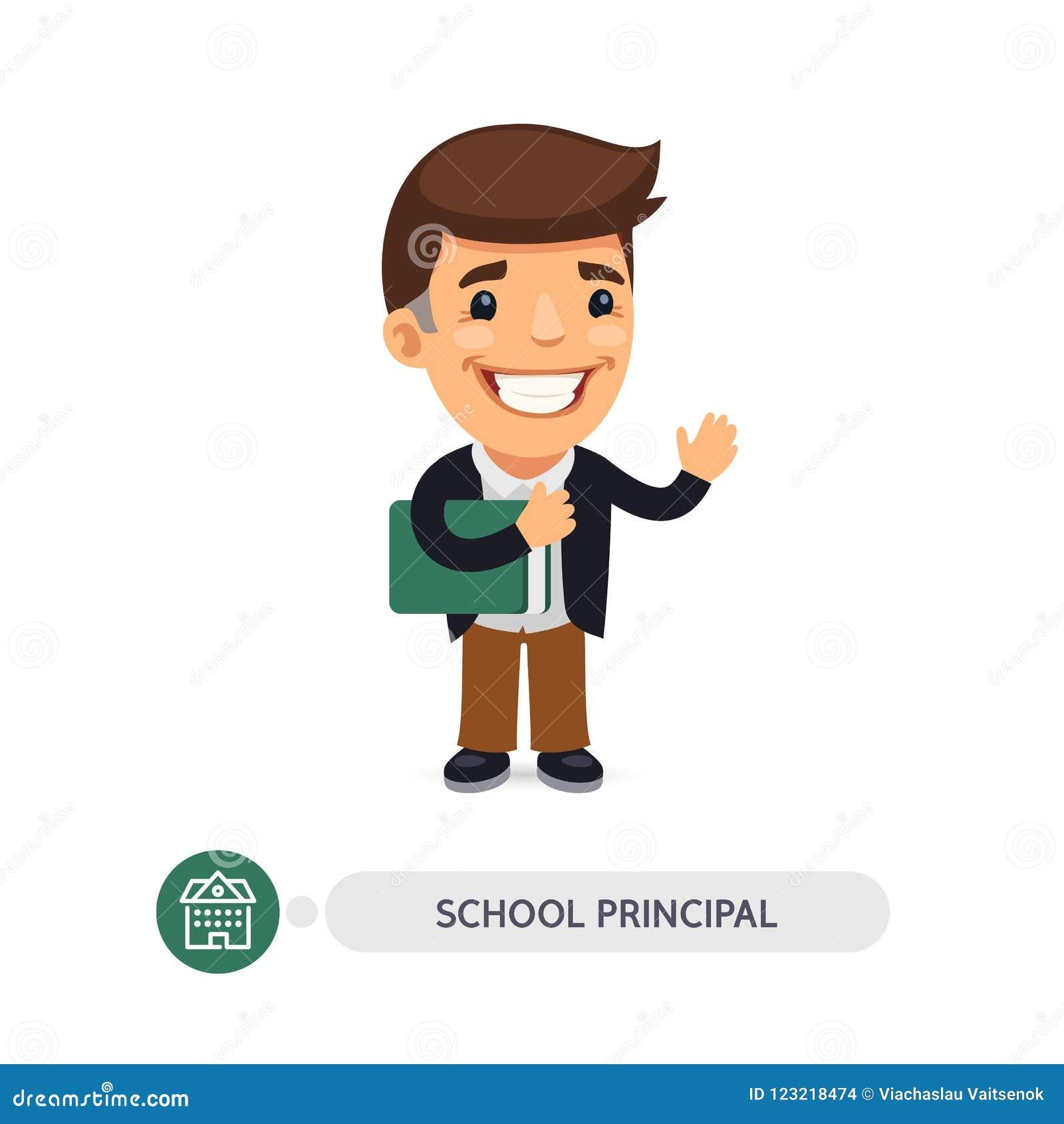 Επίπεδος χαρακτήρας κινουμένων σχεδίων διευθυντών σχολείου
