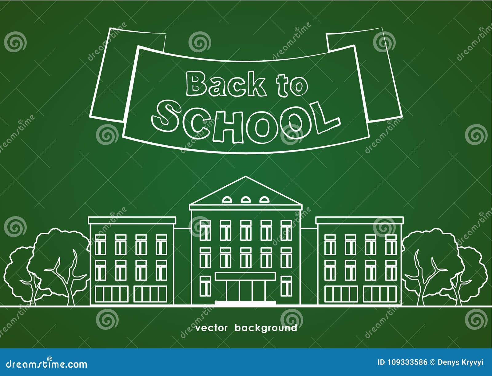 Επίπεδο άσπρο σχολικό κτίριο γραμμών με τα δέντρα, την κορδέλλα και την εγγραφή πίσω στο σχολείο στο πράσινο υπόβαθρο πινάκων