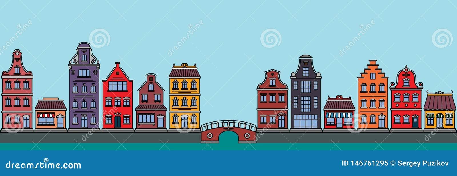 Επίπεδο γραμμικό πανόραμα του τοπίου πόλεων με τα κτήρια και τα σπίτια τουρισμός, ταξίδι στο Άμστερνταμ