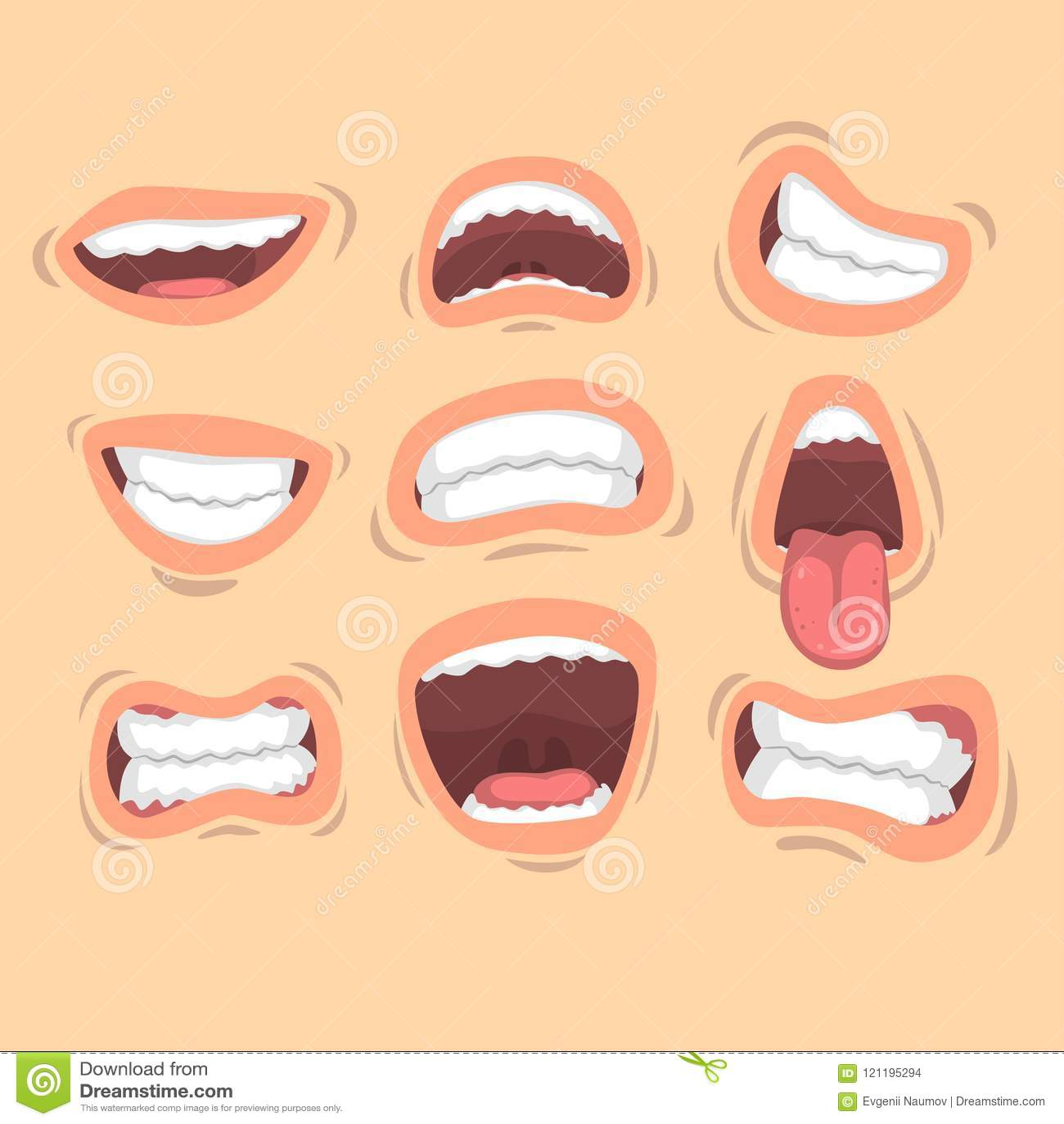 Επίπεδο διανυσματικό σύνολο αρσενικών στομάτων με τις διαφορετικές συγκινήσεις Χαμόγελο, που κολλά έξω τη γλώσσα, θυμός, ευτυχία