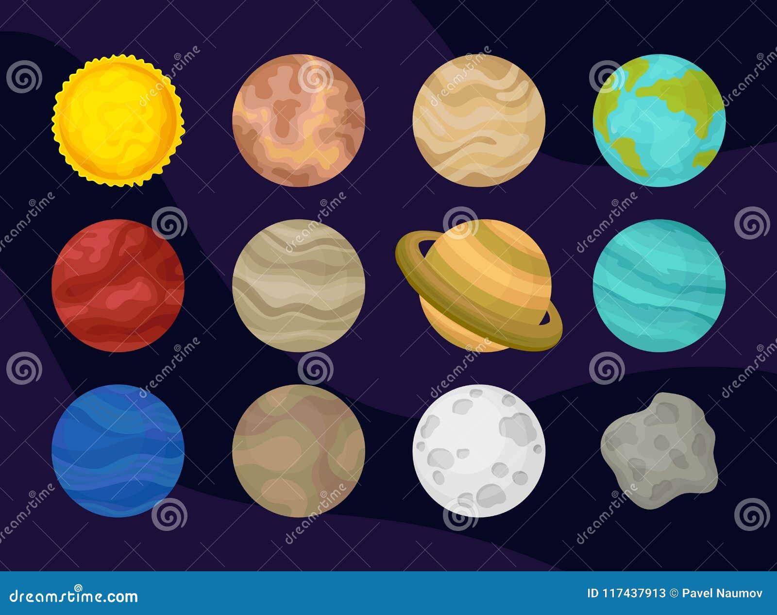 Επίπεδο διανυσματικό σύνολο πλανητών του ηλιακού συστήματος Θέμα διαστήματος ή αστρονομίας Εξερεύνηση του κόσμου Στοιχεία για την