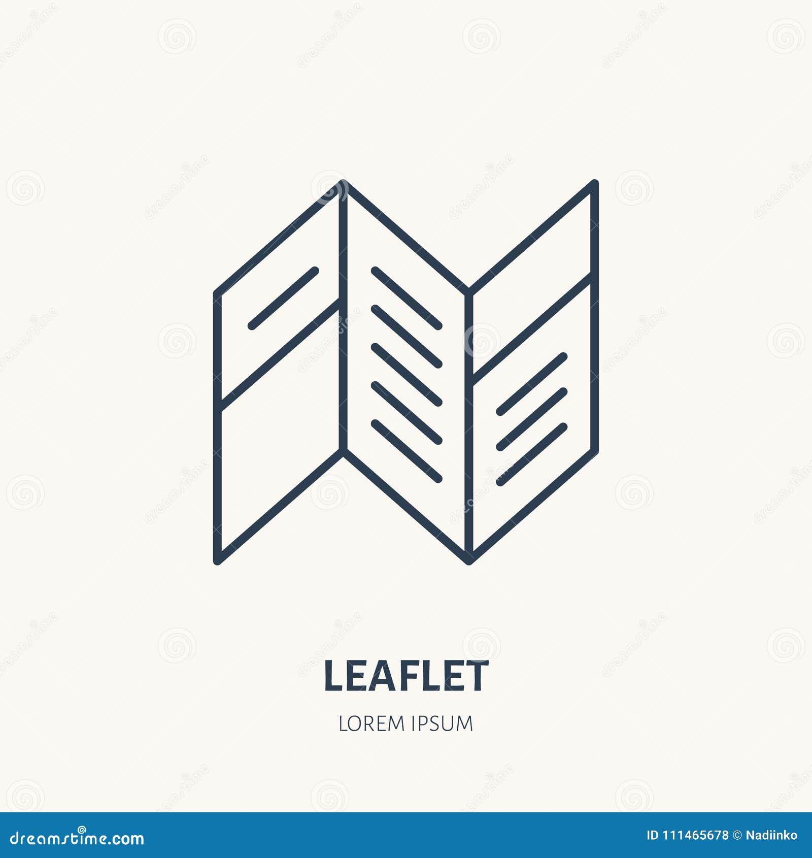 Επίπεδο εικονίδιο γραμμών φυλλάδιων Σημάδι φυλλάδιων Λεπτό γραμμικό λογότυπο για το printery, στούντιο σχεδίου