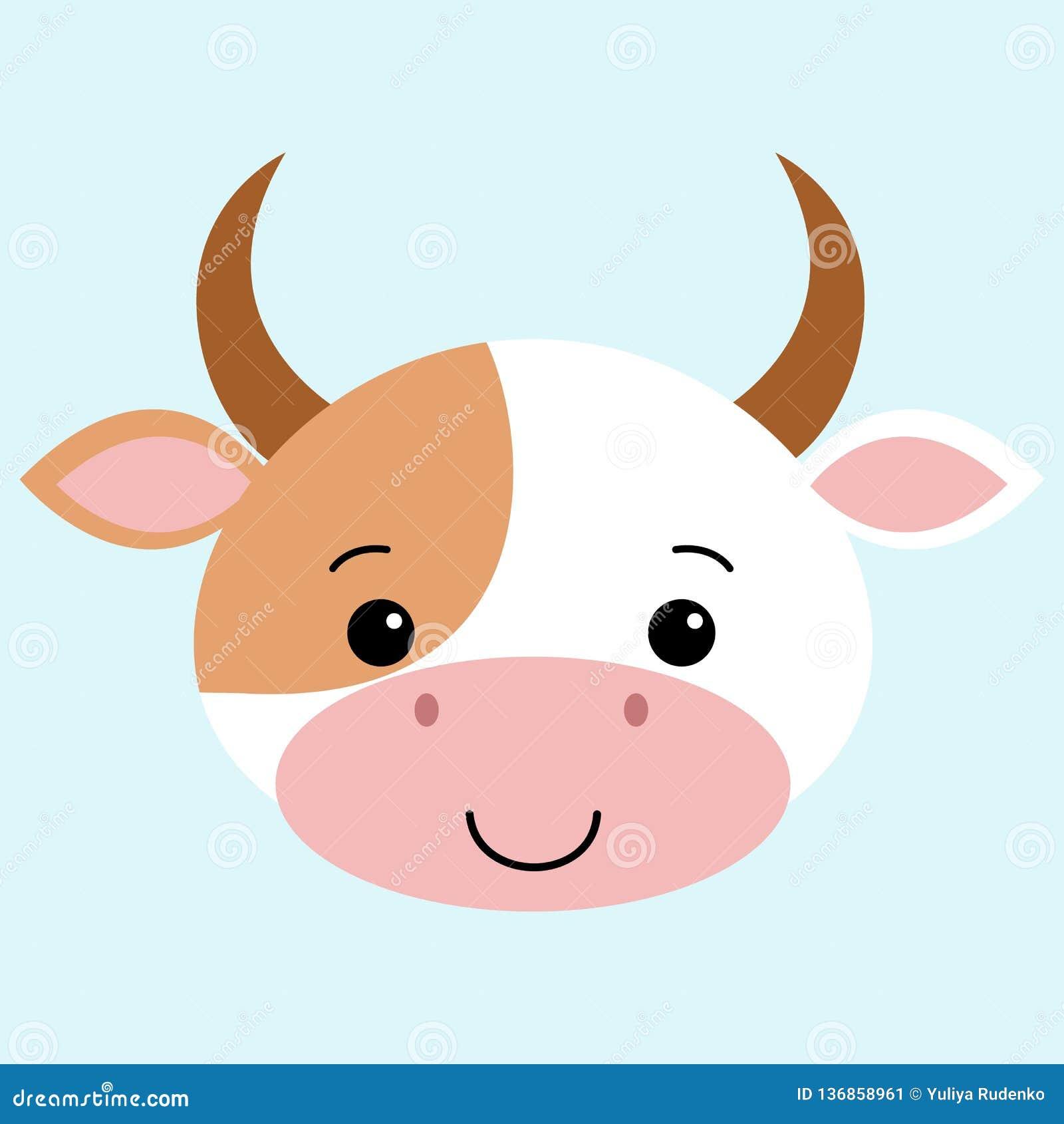 Επίπεδο ύφος κινούμενων σχεδίων αγελάδων, χαριτωμένο διανυσματικό αστείο ζωικό kawaii απεικόνισης