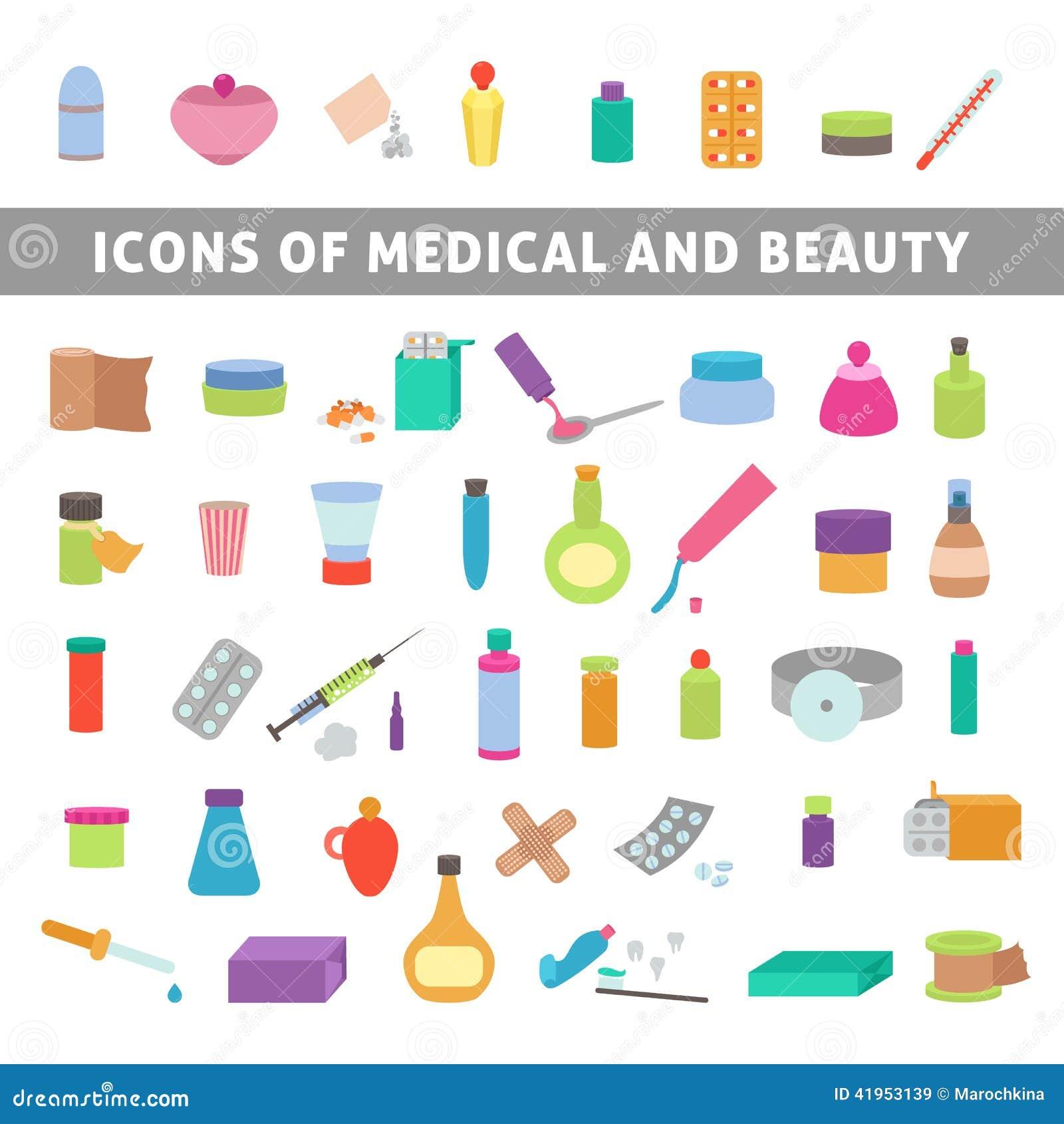 Επίπεδα εικονίδια για την ιατρική και την ομορφιά