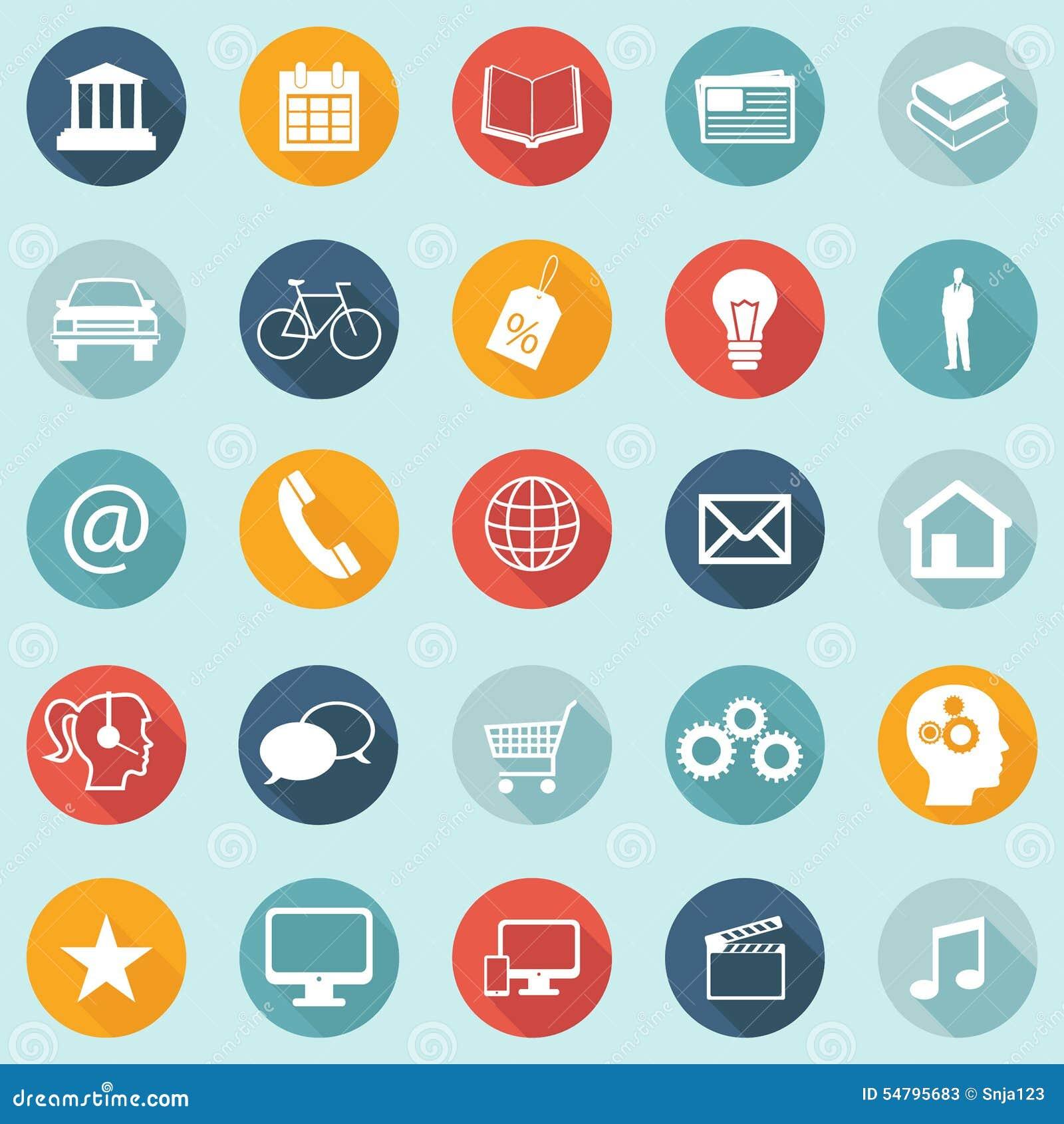 Επίπεδα εικονίδια σχεδίου - Ιστός, κινητός, App - διανυσματικό EPS10