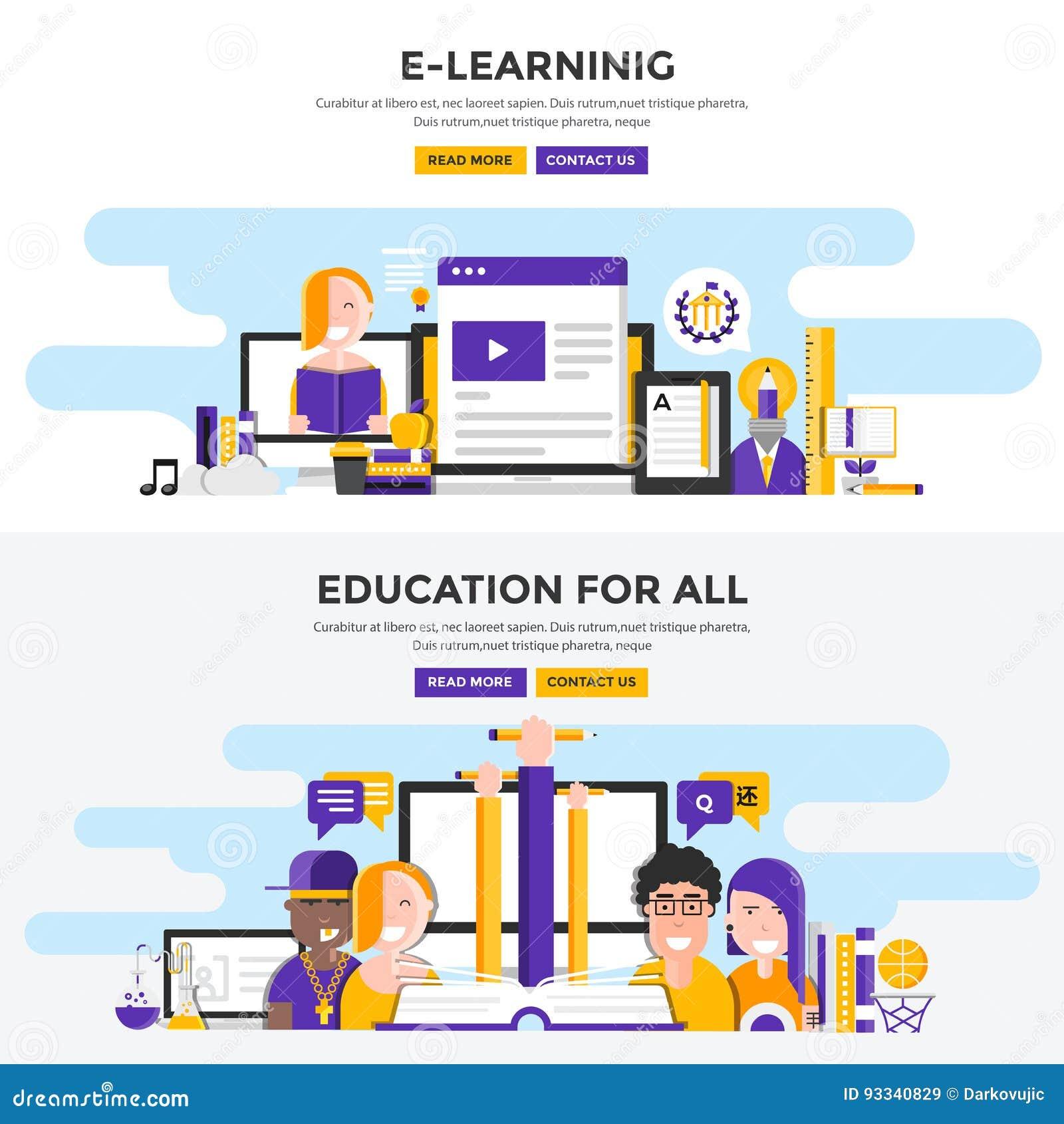 Επίπεδα εμβλήματα έννοιας σχεδίου - εκμάθηση και εκπαίδευση Ε για όλα