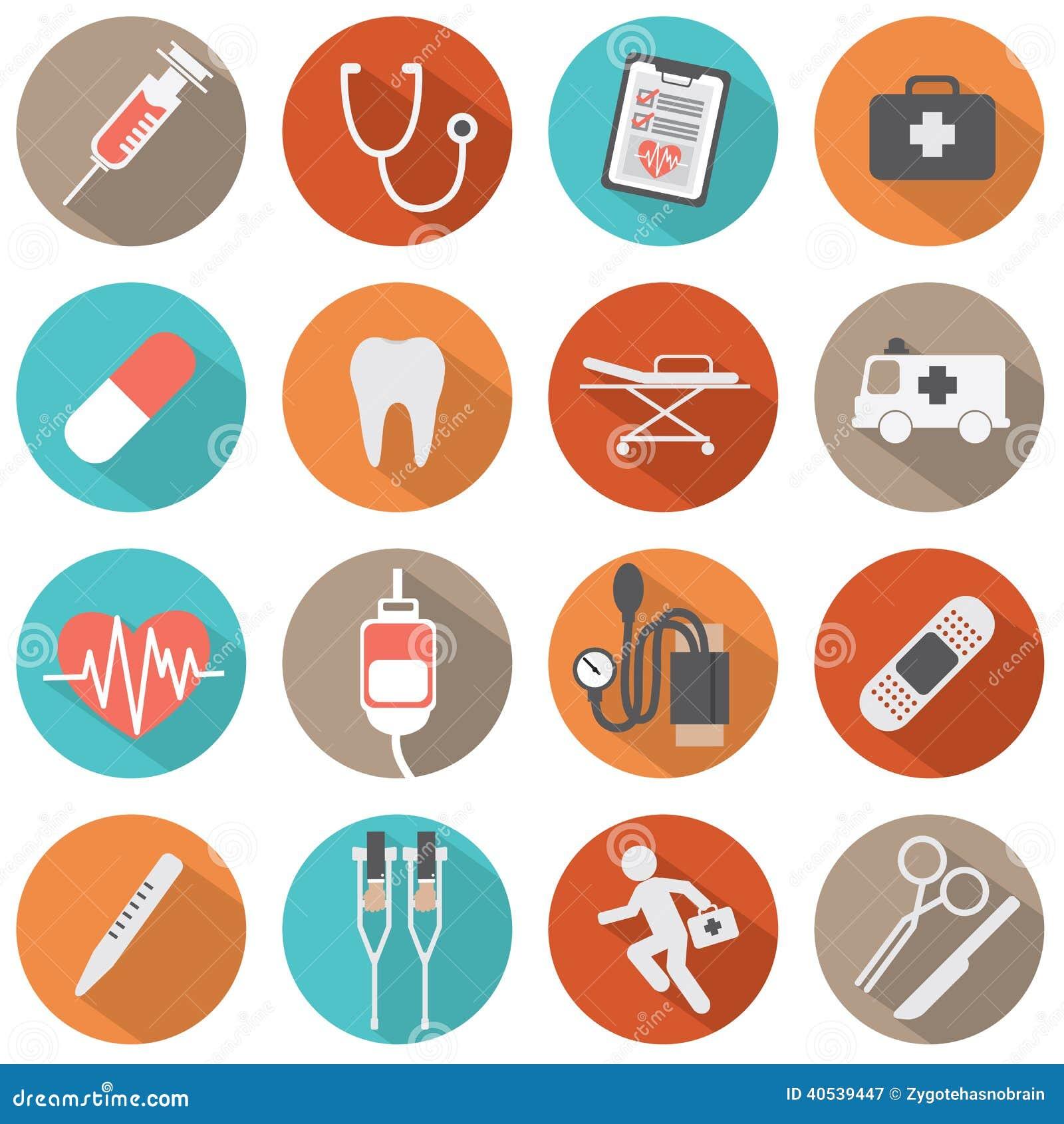 Επίπεδα ιατρικά εικονίδια σχεδίου