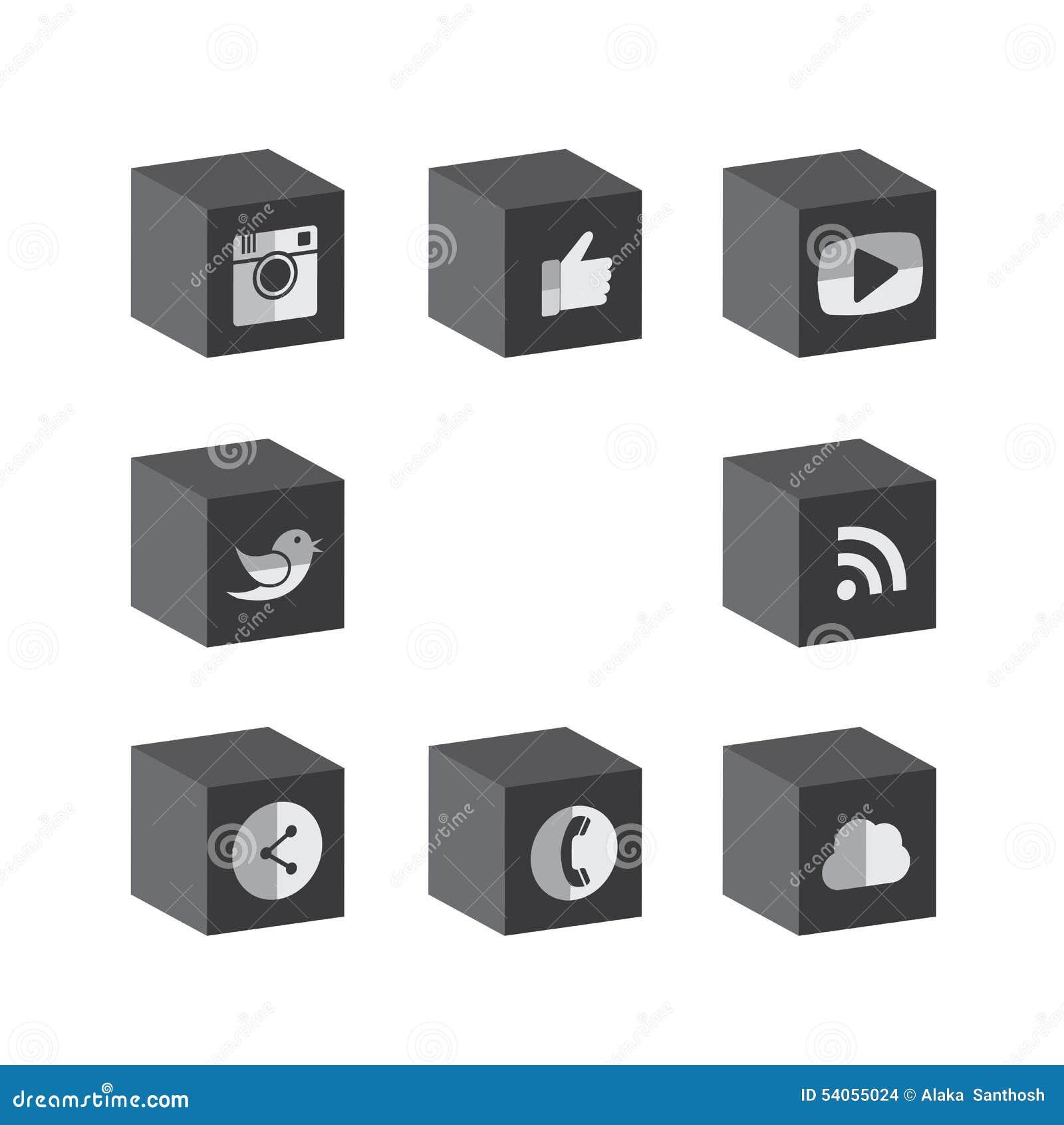 Επίπεδα τρισδιάστατα σχέδια κουμπιών κύβων μαύρα & άσπρα της κάμερας, όπως, messe