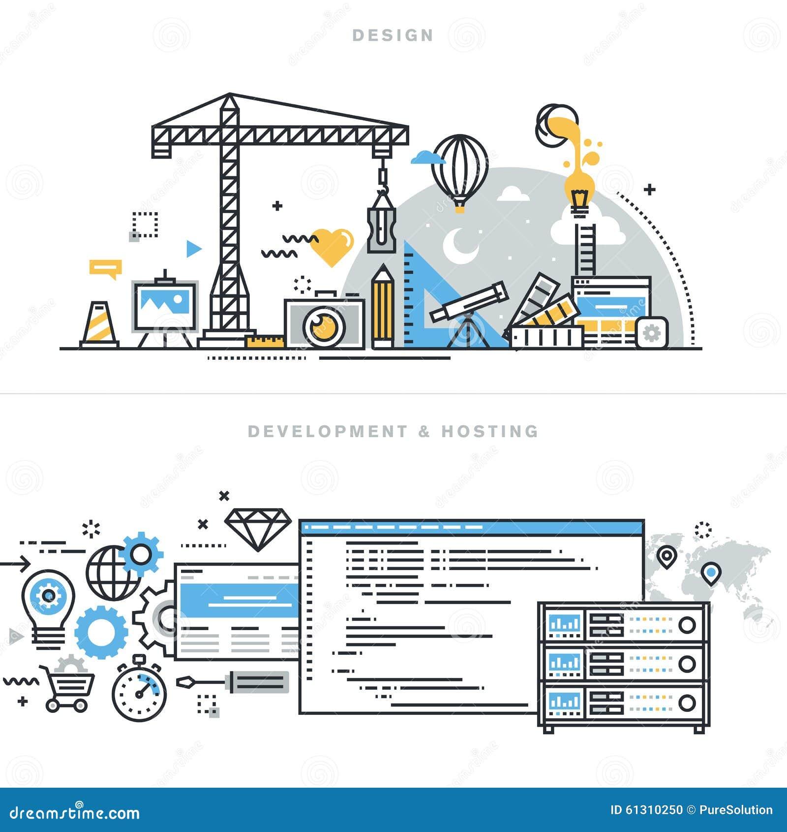 Επίπεδες έννοιες σχεδίου γραμμών για το γραφικό σχέδιο, την ανάπτυξη ιστοχώρου και τη φιλοξενία