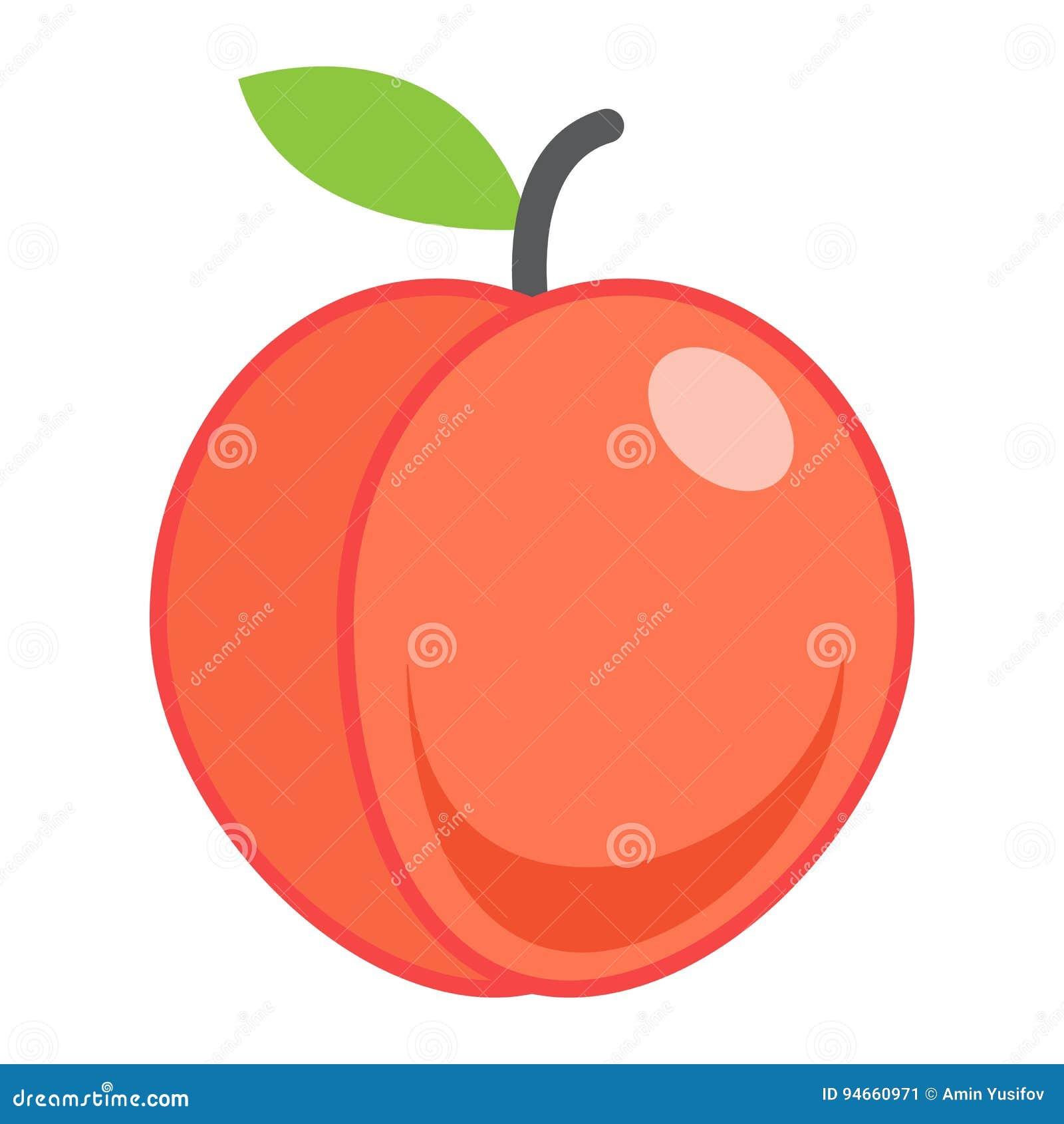 Επίπεδες εικονίδιο ροδάκινων, φρούτα και διατροφή, διάνυσμα γραφικό