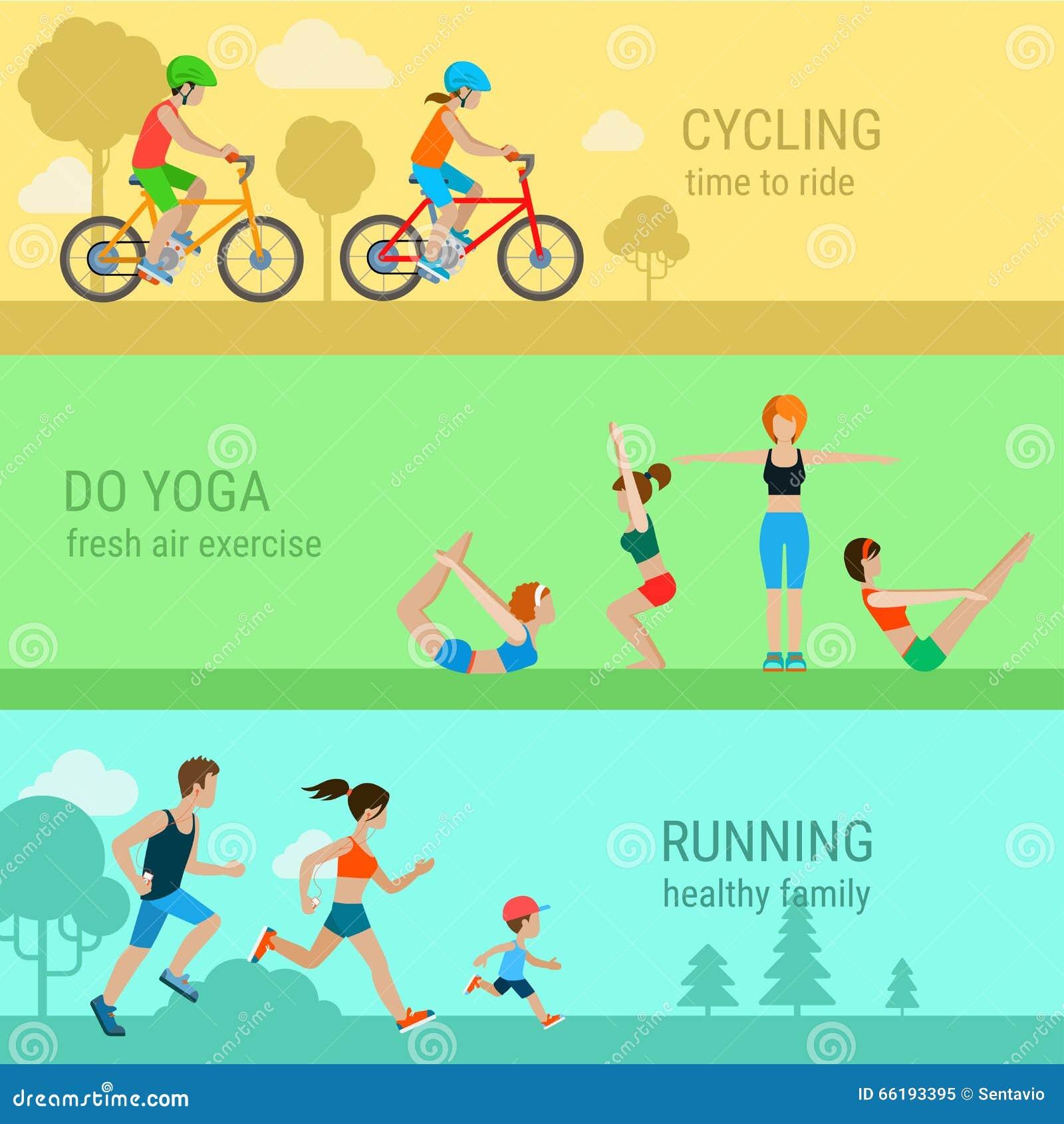 Επίπεδες διανυσματικές αθλητικές υπαίθριες δραστηριότητες: τρέξιμο γιόγκας ανακύκλωσης