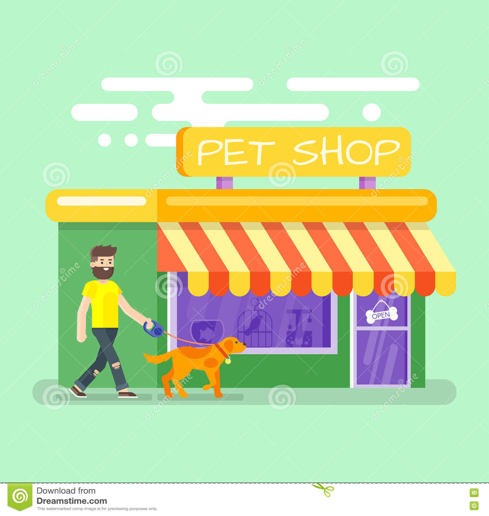 Επίπεδη απεικόνιση του γενειοφόρου ατόμου που οδηγεί το σκυλί στο κατάστημα κατοικίδιων ζώων