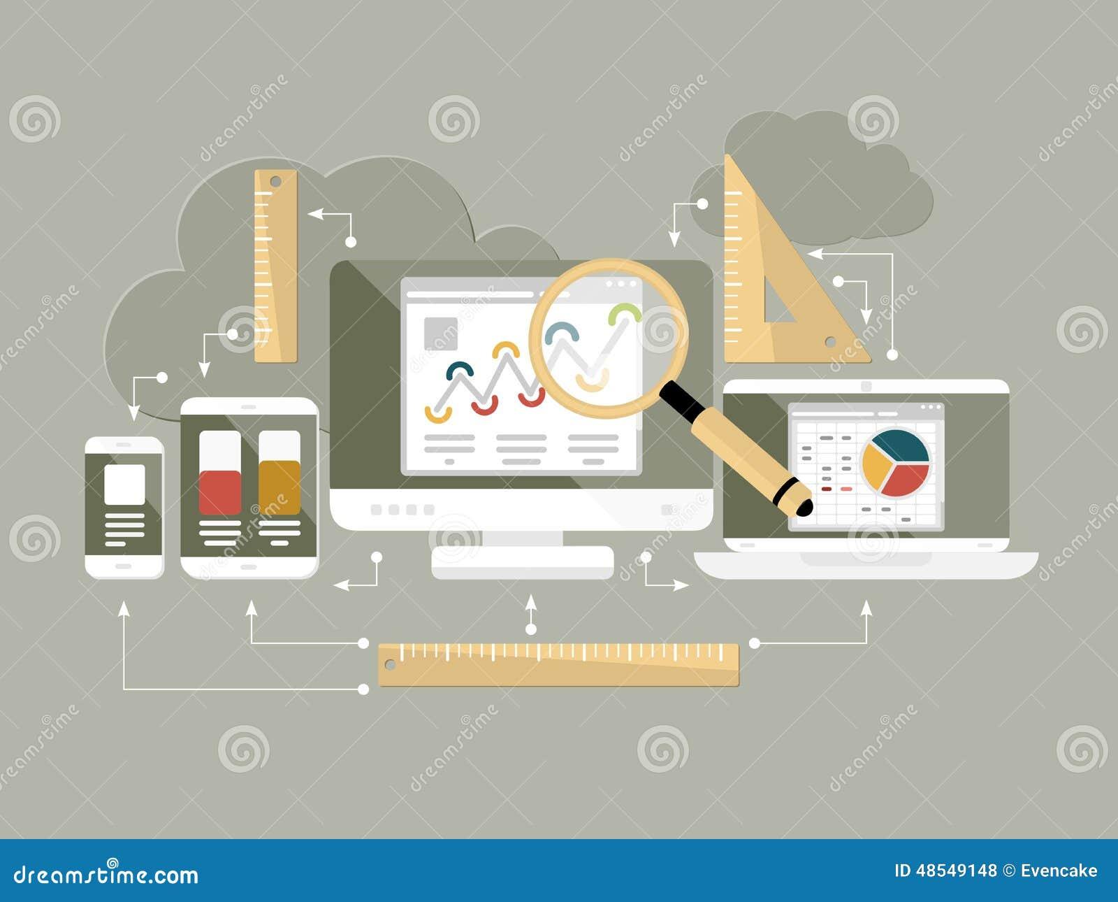 Επίπεδη διανυσματική απεικόνιση analytics ιστοχώρου σχεδίου