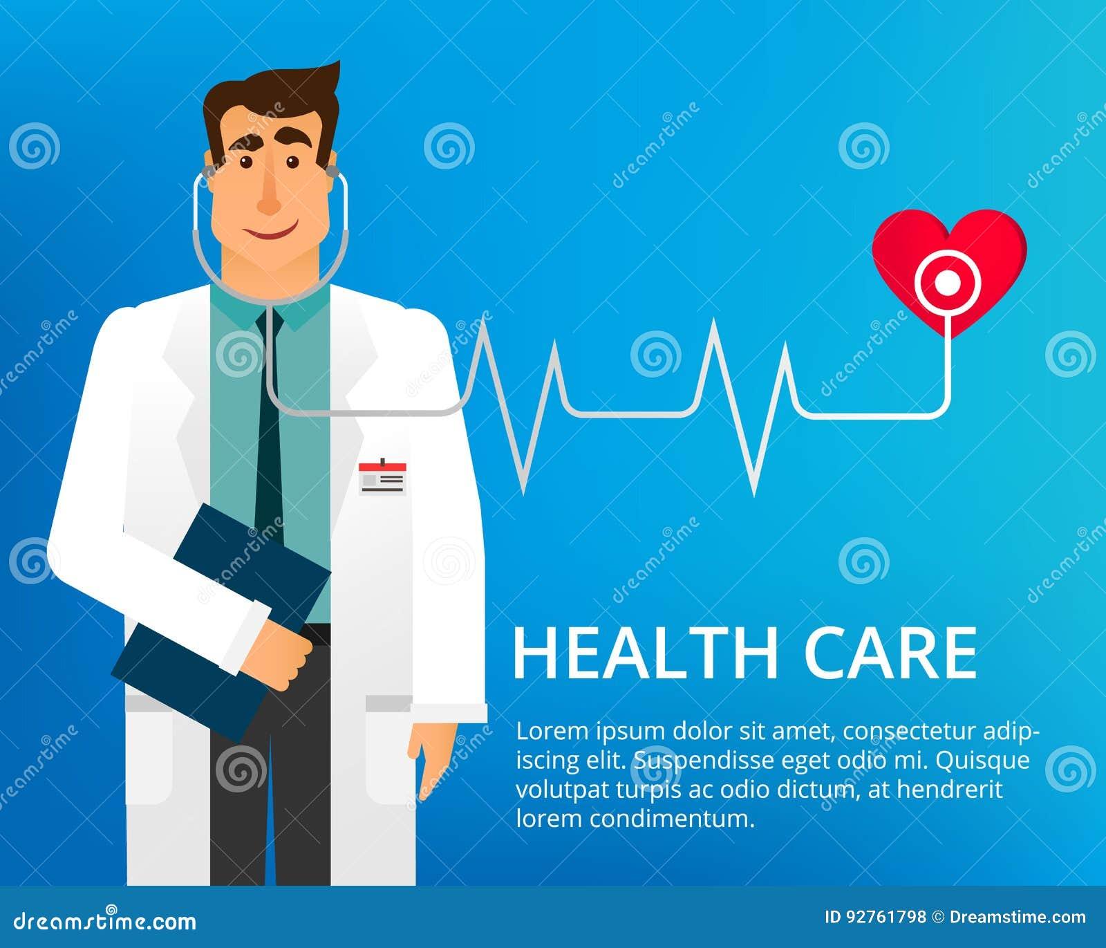 Επίπεδος γιατρός σχεδίου Όμορφος γιατρός με το στηθοσκόπιο και πολλά διαφορετικά ιατρικά εικονίδια Ο Δρ καρδιολόγων διάνυσμα