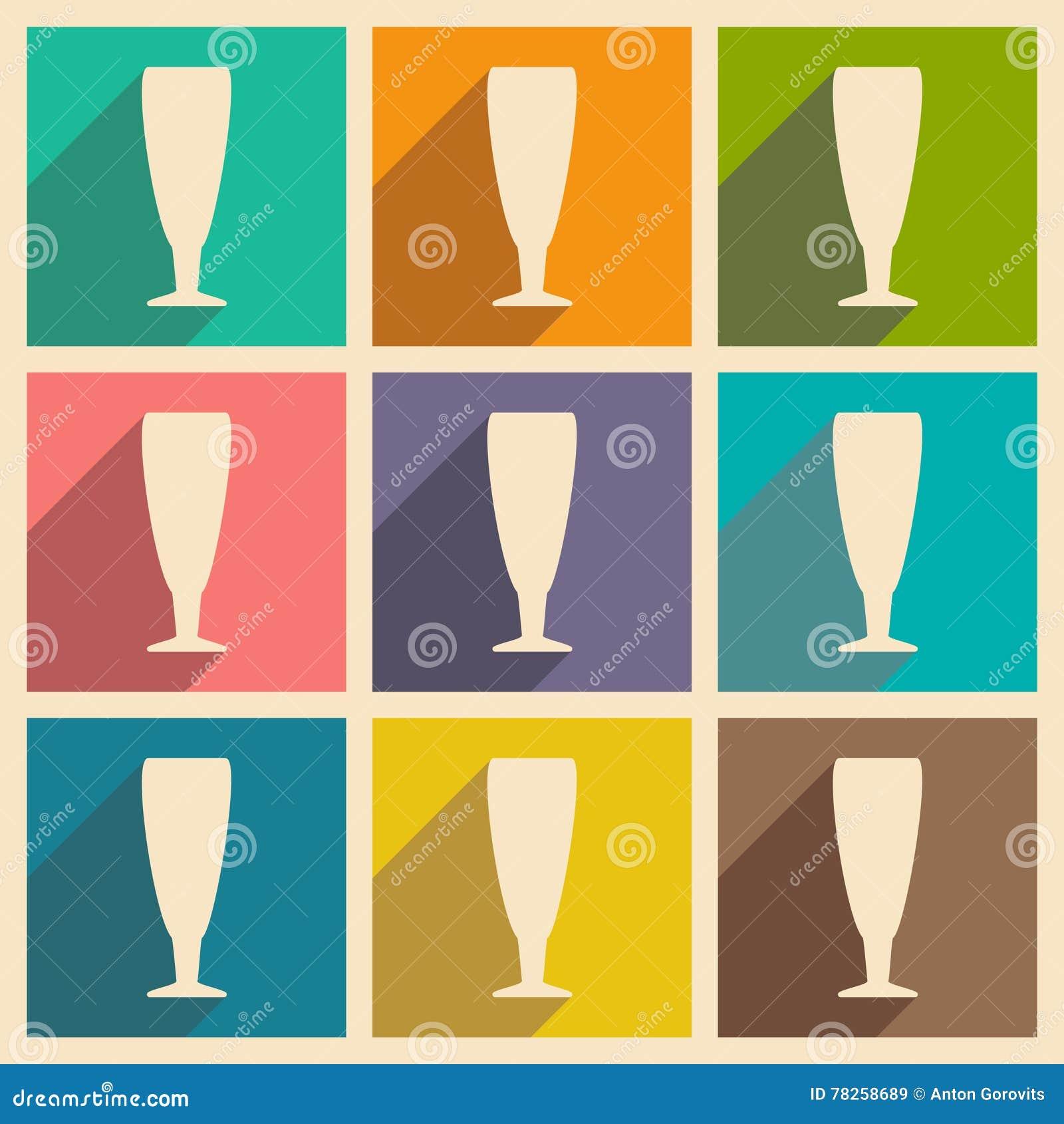 Επίπεδο με την έννοια σκιών και τα κινητά γυαλιά κρασιού εφαρμογής