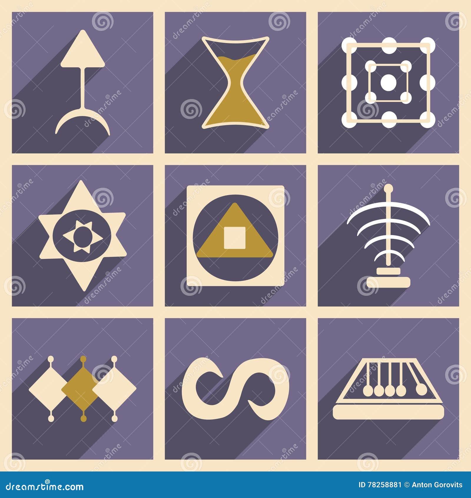 Επίπεδο με την έννοια σκιών και τα κινητά σύμβολα εφαρμογής