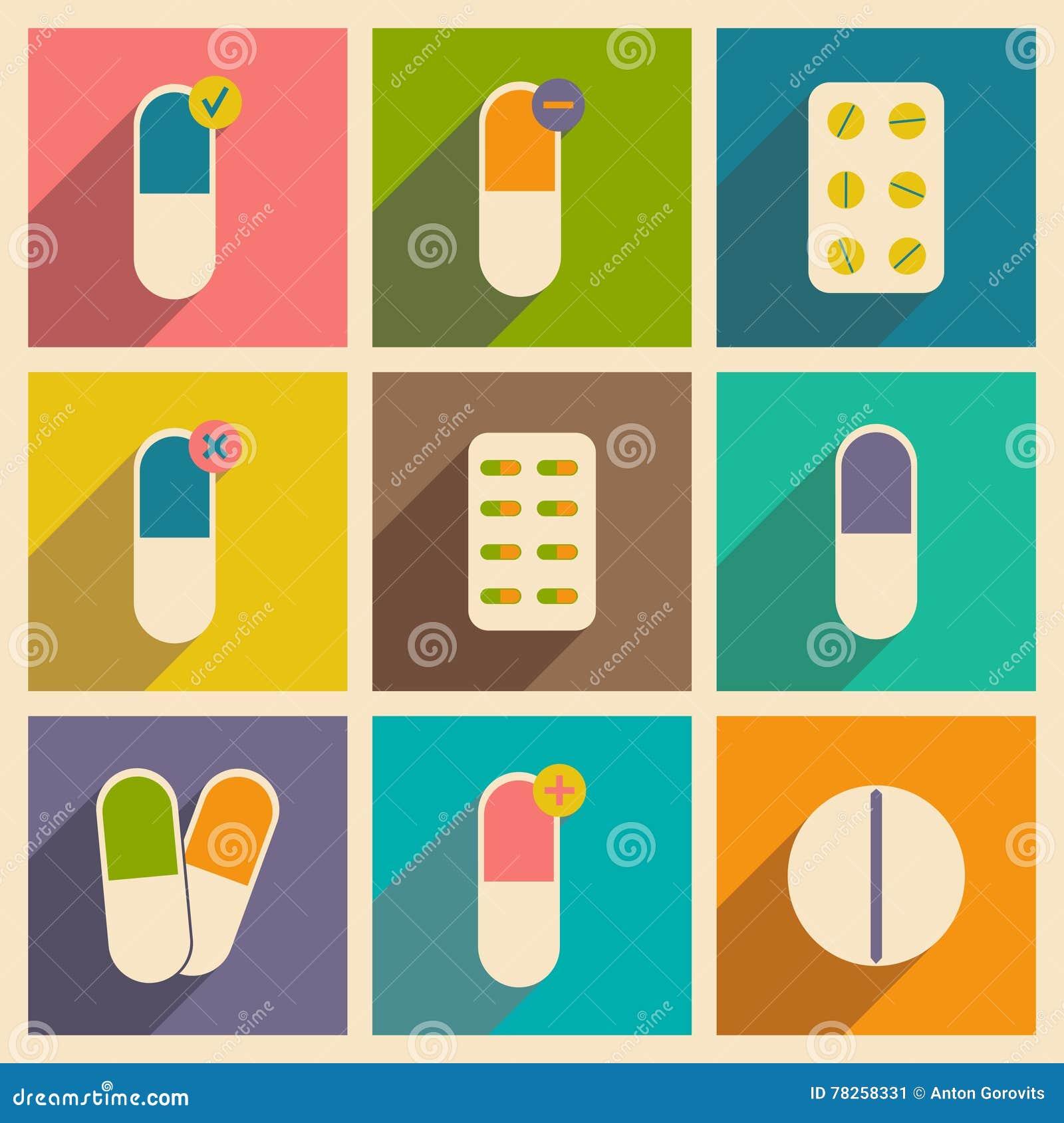 Επίπεδο με την έννοια σκιών και τα κινητά φαρμακευτικά φάρμακα εφαρμογής