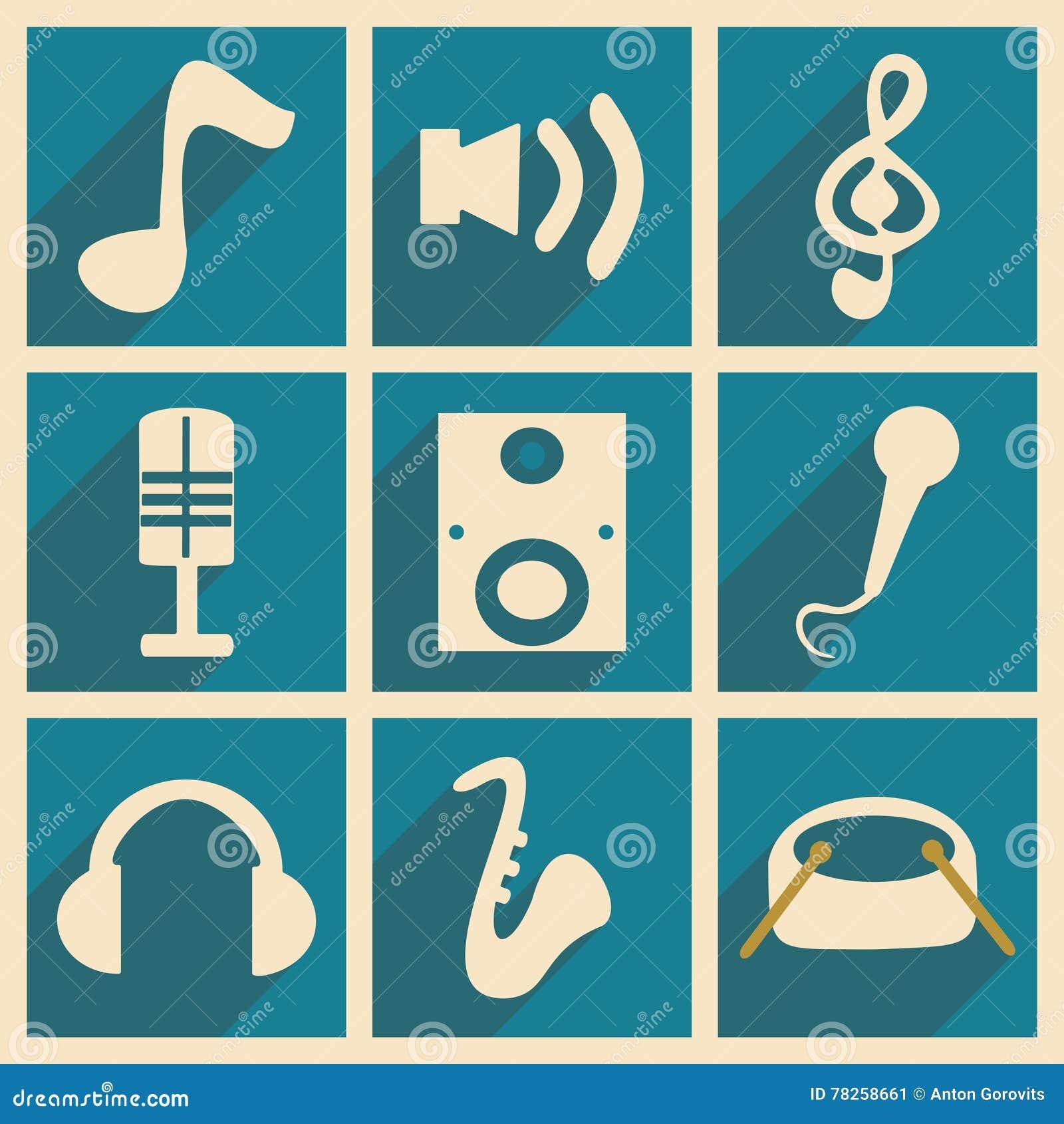 Επίπεδο με την έννοια σκιών και την κινητή μουσική εφαρμογής