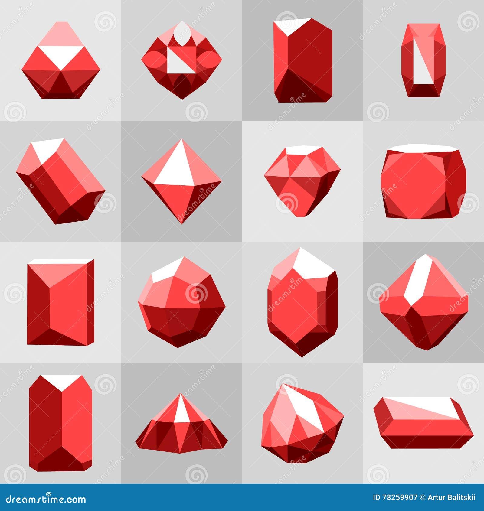 Επίπεδο σύνολο εικονιδίων Διαμάντι πολύτιμοι λίθοι, και πέτρες σε πολλές παραλλαγές