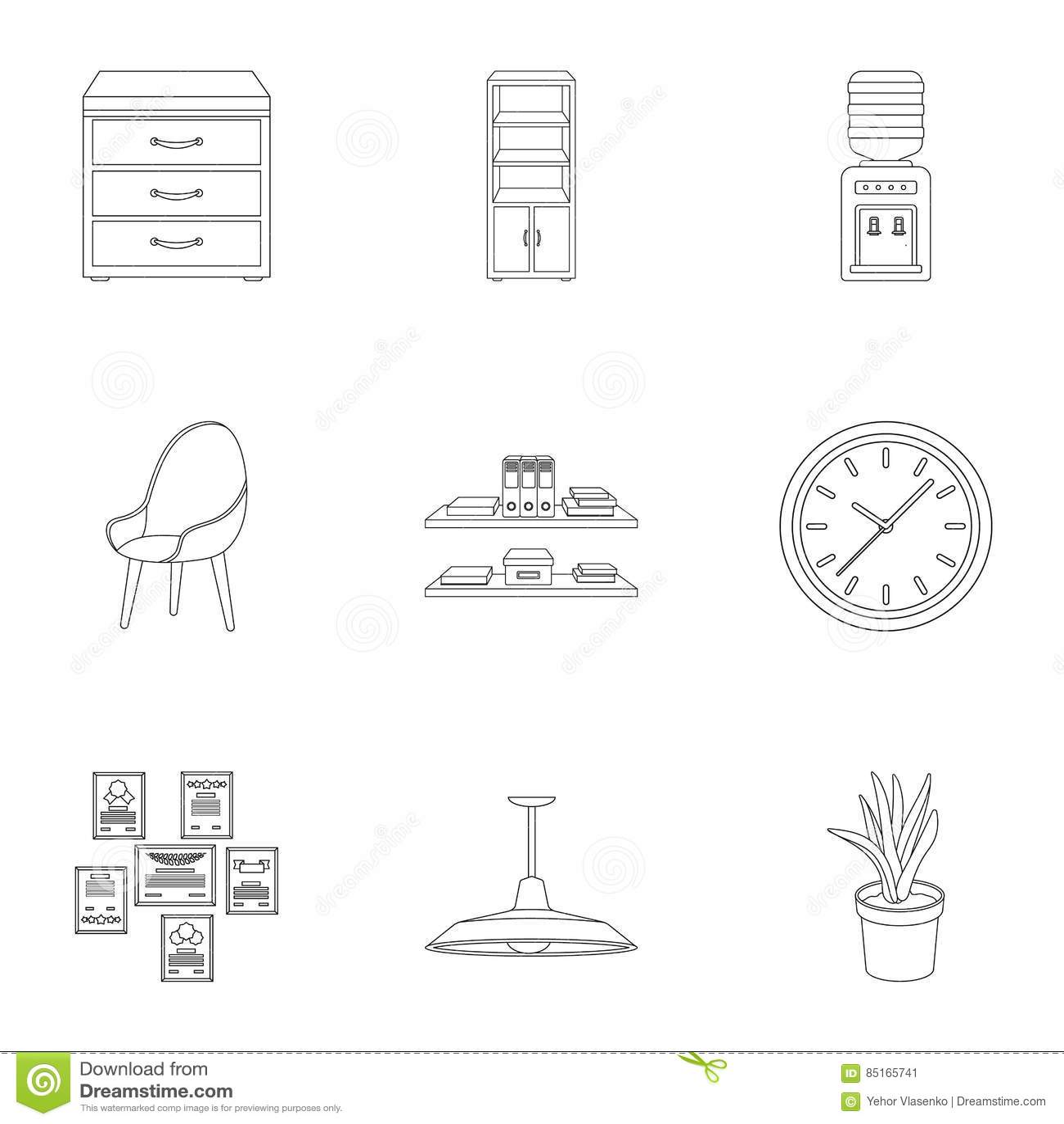 Επίπλωση γραφείων και εσωτερικά καθορισμένα εικονίδια στο ύφος περιλήψεων Μεγάλη συλλογή της επίπλωσης γραφείων και του εσωτερικο