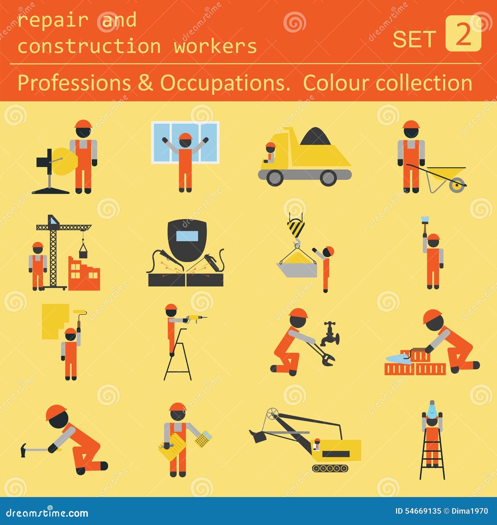 Επαγγέλματα και χρωματισμένο επαγγέλματα σύνολο εικονιδίων Επισκευή και constr