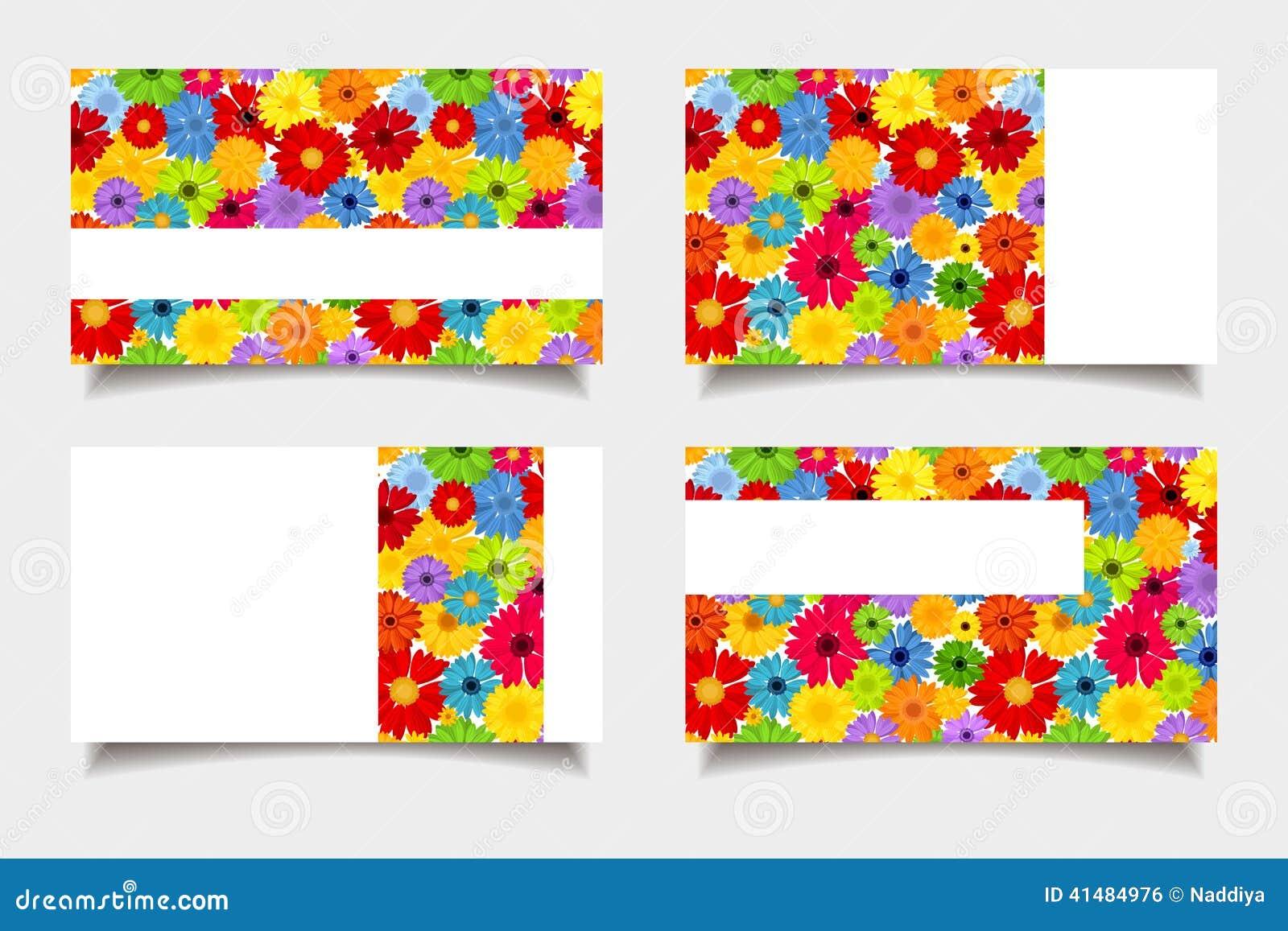 Επαγγελματικές κάρτες με τα ζωηρόχρωμα λουλούδια επίσης corel σύρετε το διάνυσμα απεικόνισης