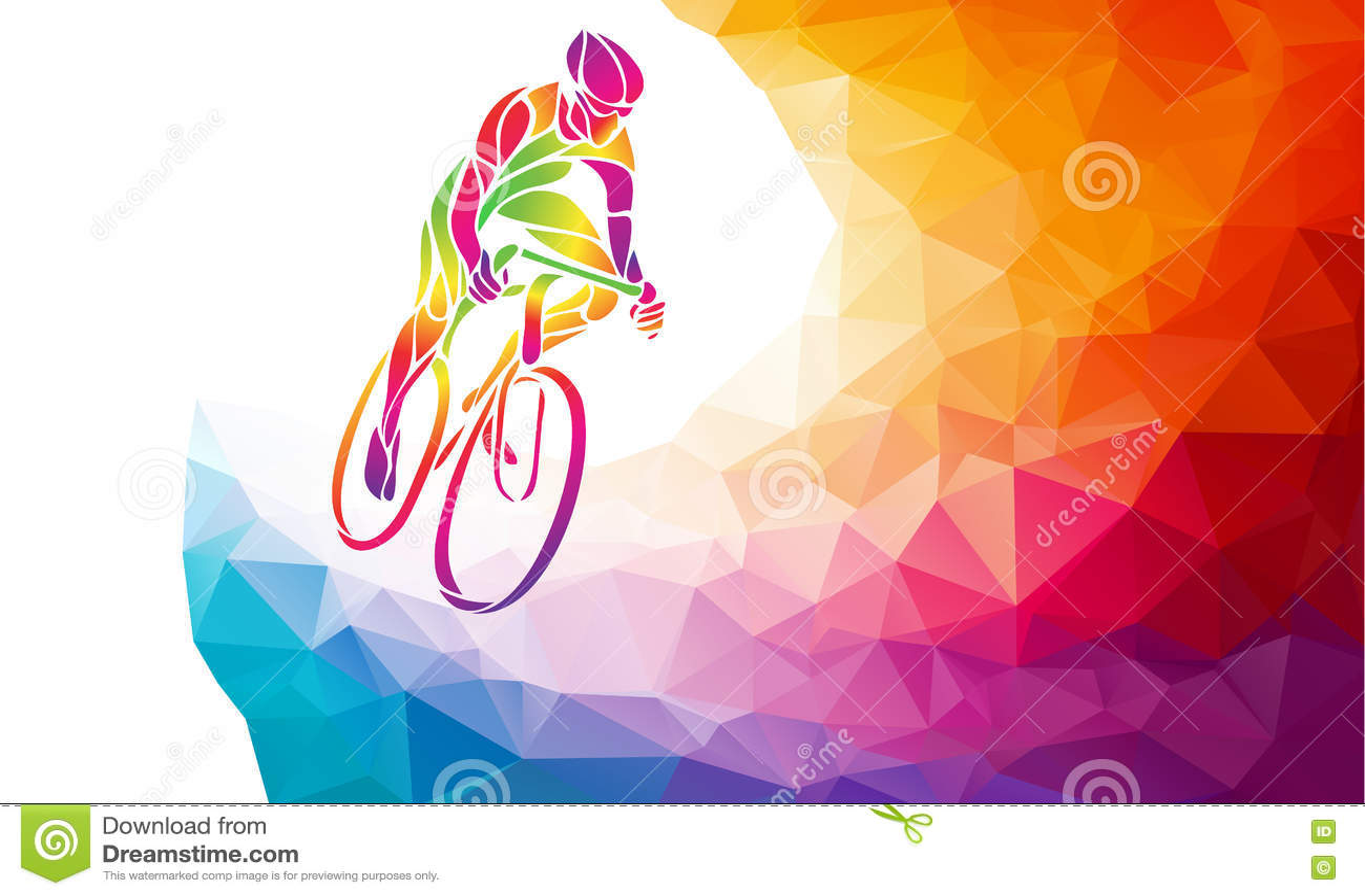 Επαγγελματικός ποδηλάτης που συμμετέχει σε μια φυλή ποδηλάτων Polygonal χαμηλός πολυ