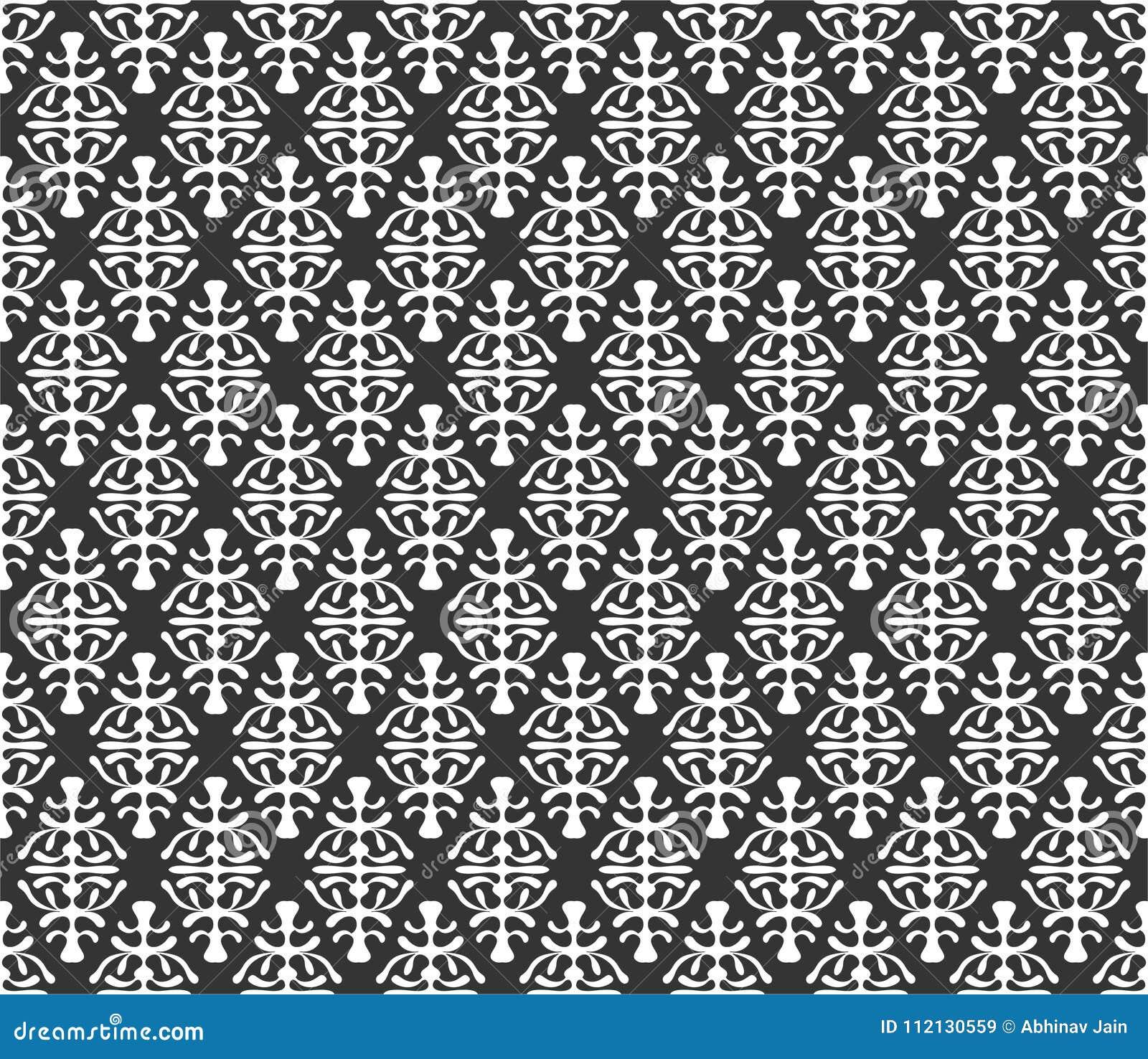Επαναλαμβανόμενη απεικόνιση υποβάθρου σχεδίων μοτίβου στο μαύρο λευκό ν