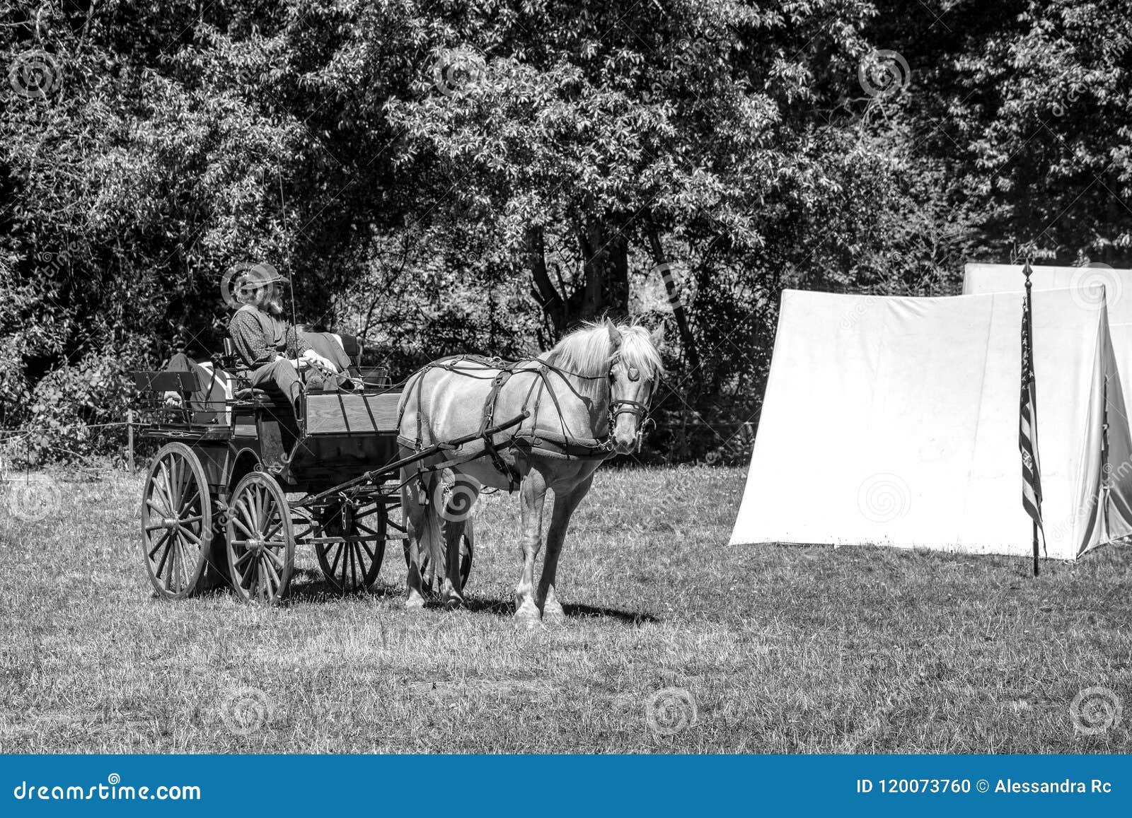 Επαν-enactement εμφύλιου πολέμου στους μύλους Duncans, ασβέστιο, ΗΠΑ