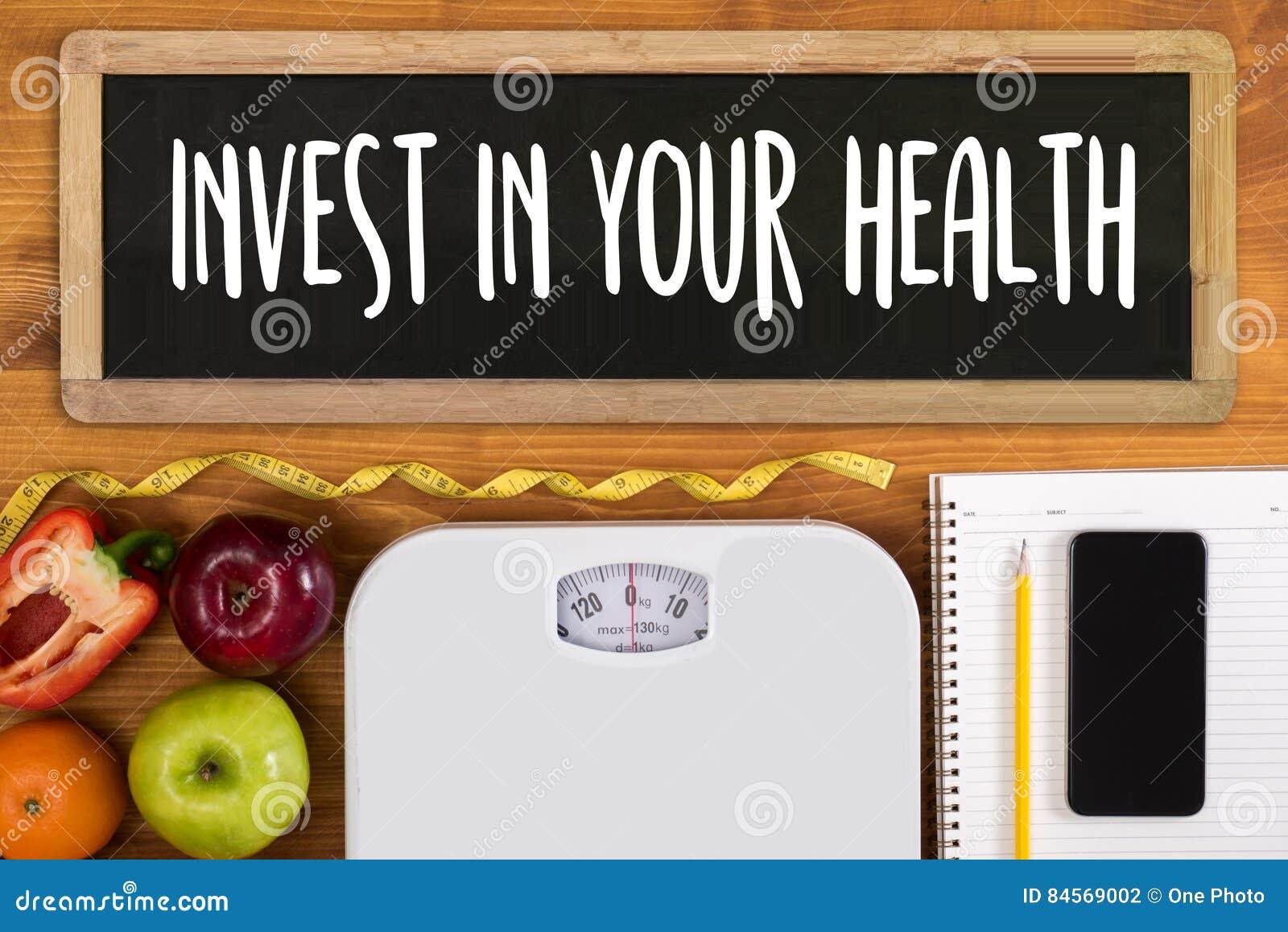 Επενδύστε στην υγεία σας, υγιής έννοια τρόπου ζωής με τη διατροφή και