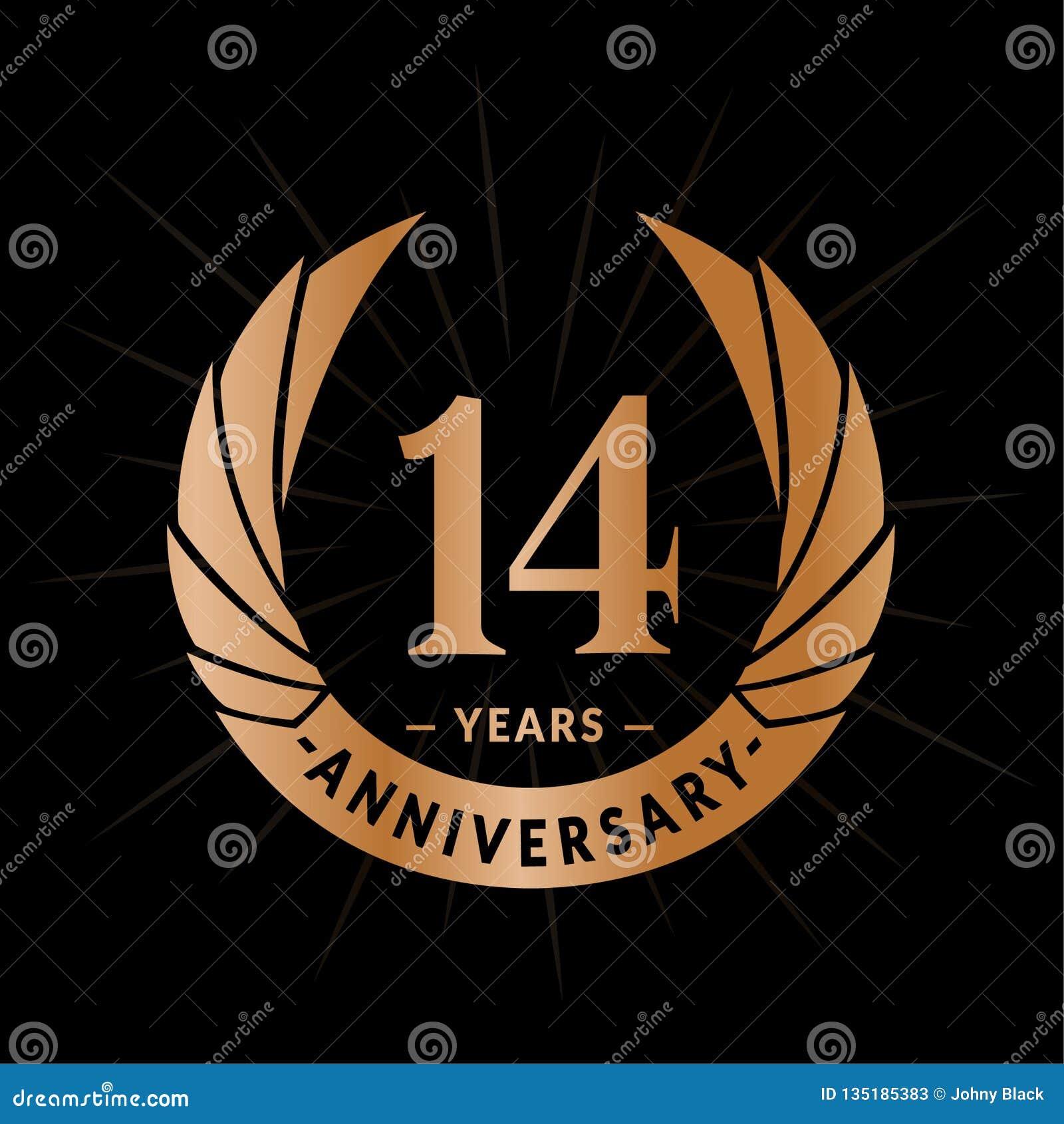14 επετείου έτη προτύπων σχεδίου Κομψό σχέδιο λογότυπων επετείου Δεκατέσσερα έτη λογότυπων