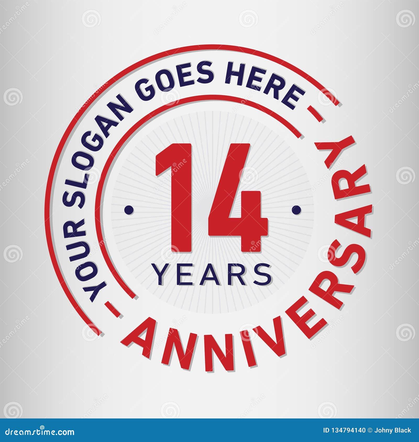 14 επετείου εορτασμού έτη προτύπων σχεδίου Διάνυσμα και απεικόνιση επετείου Δεκατέσσερα έτη λογότυπων