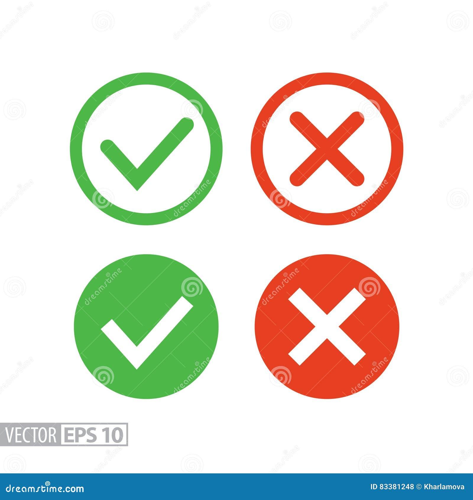 Επιβεβαιώστε και αρνηθείτε το επίπεδο εικονίδιο Διανυσματικό λογότυπο για το σχέδιο, κινητός και το infographics Ιστού
