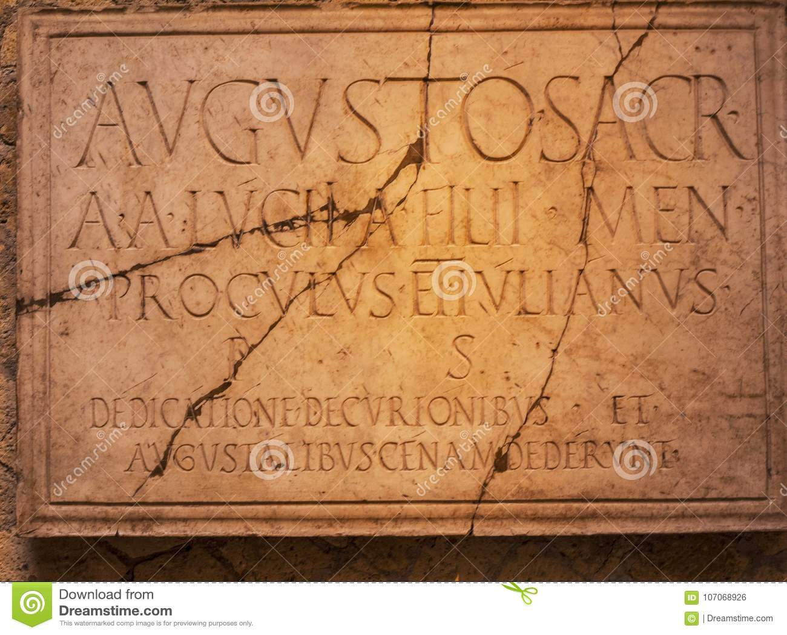 Επιγραφή στο ναό Augustos σε Herculaneum Ιταλία Ι